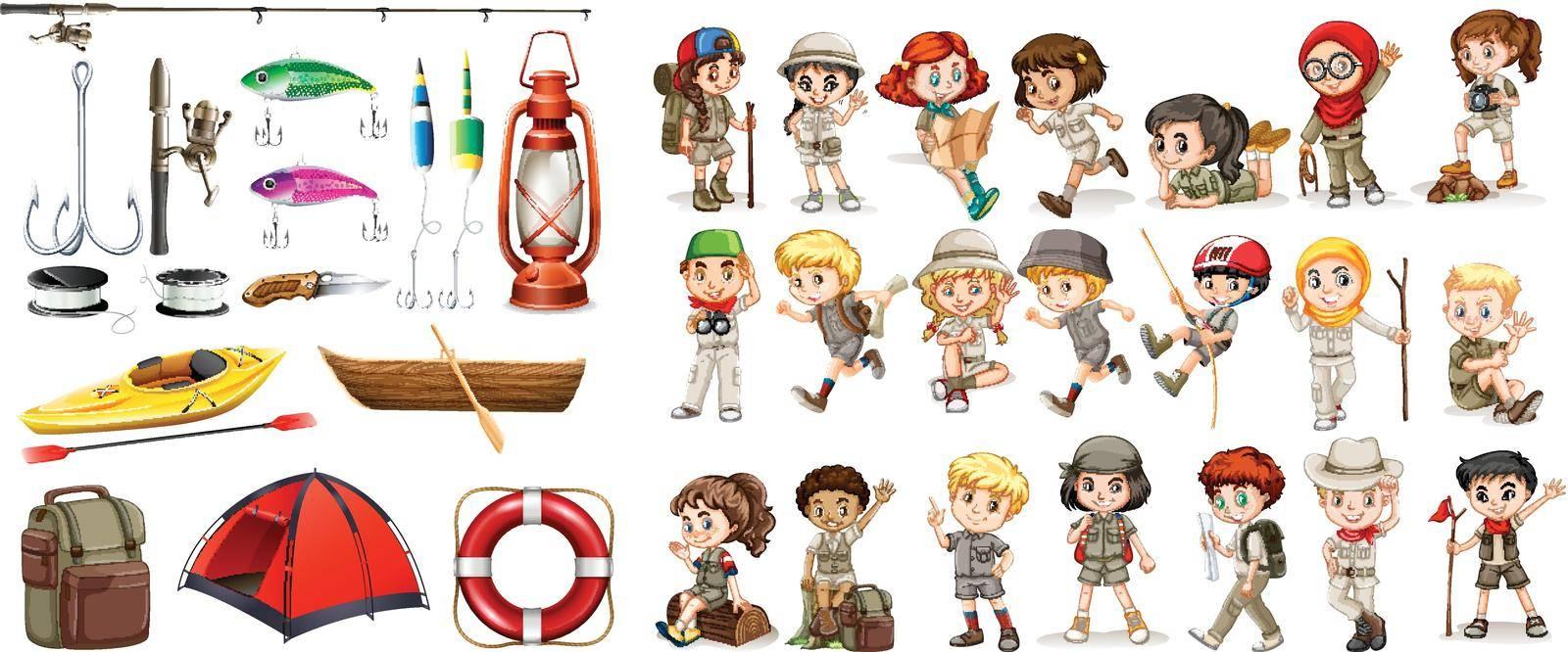 Children and camping equipment illustration