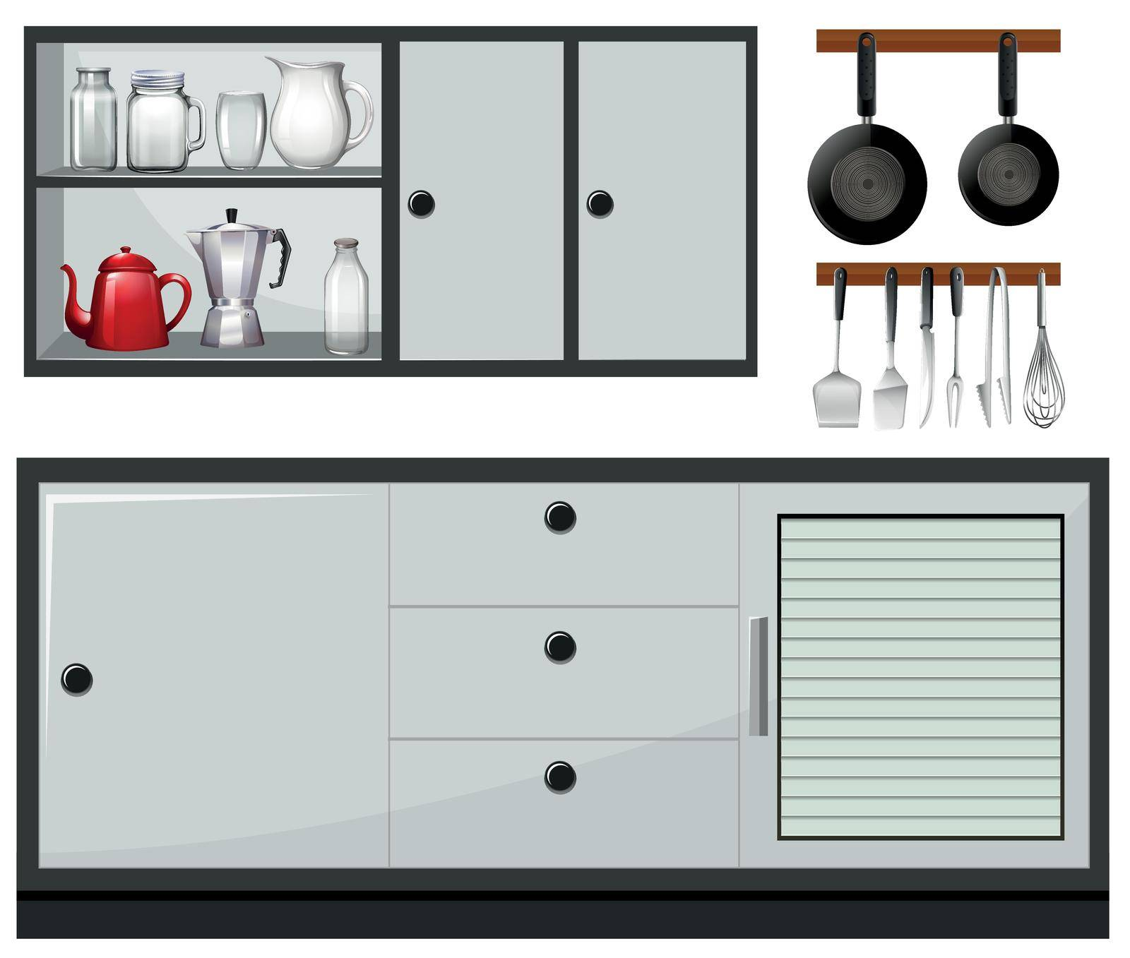 Equipment and furniture in the kitchen illustration