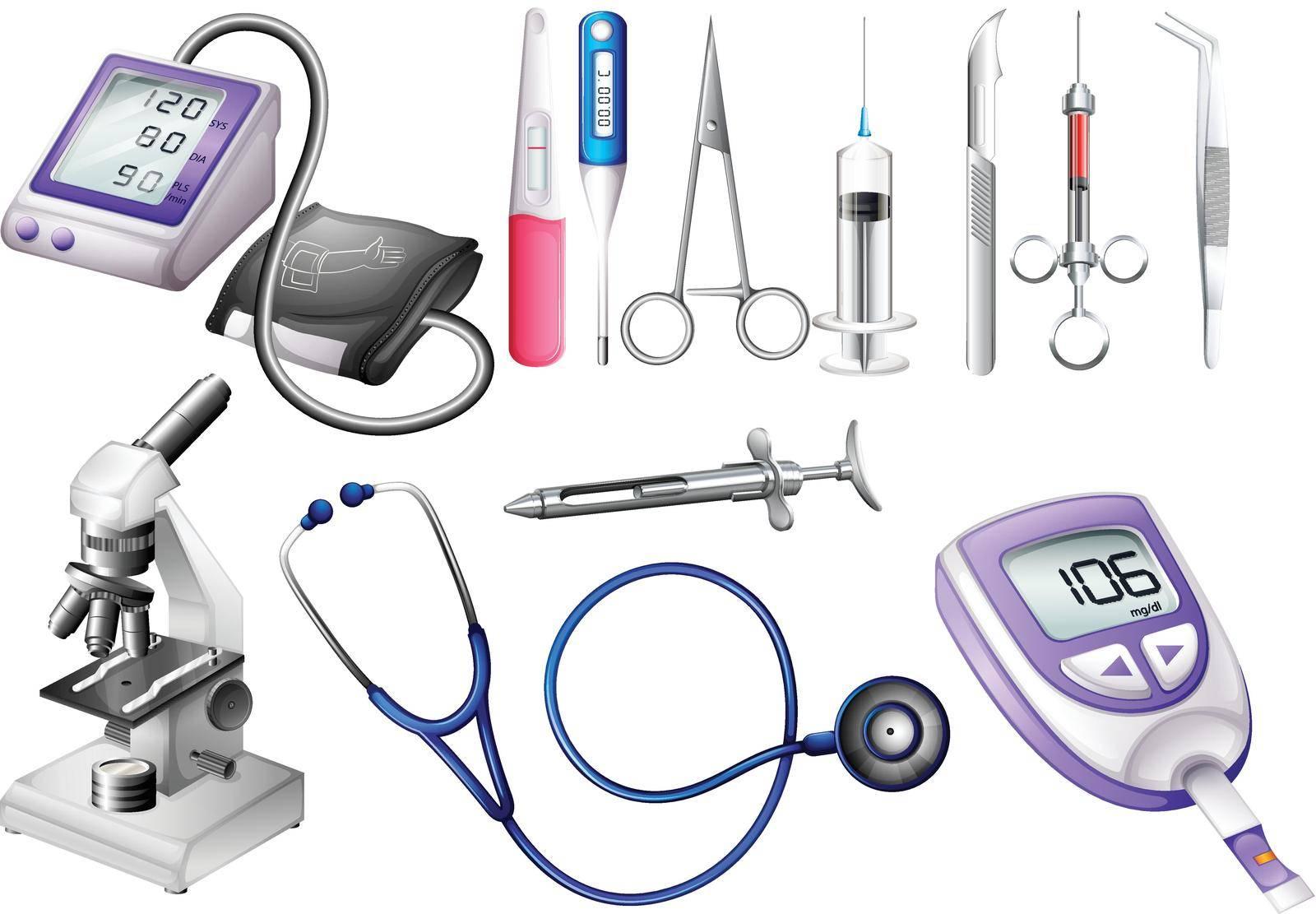 Set of medical equipment illustration