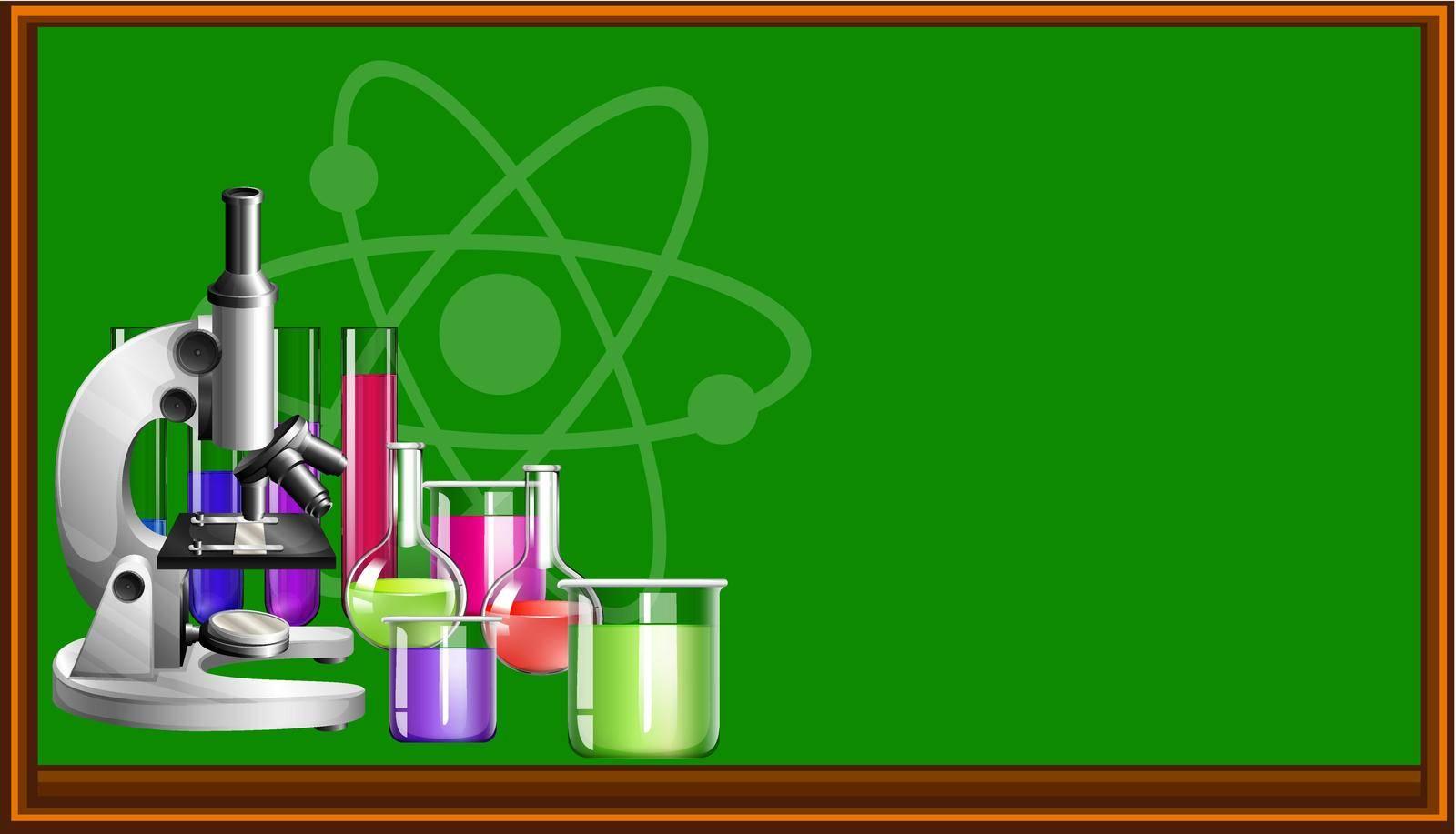 Science equipment and blackboard illustration