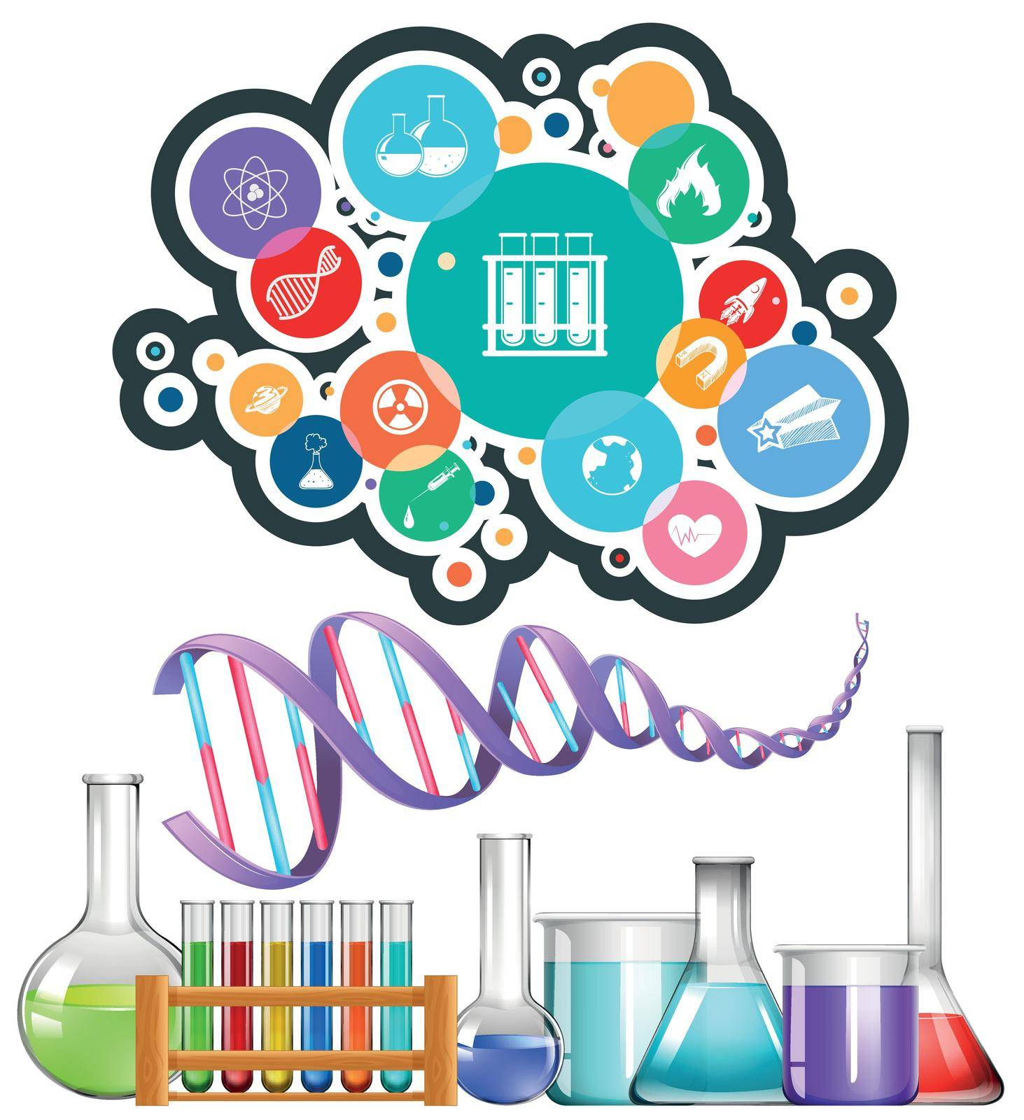 Science equipment and icons illustration