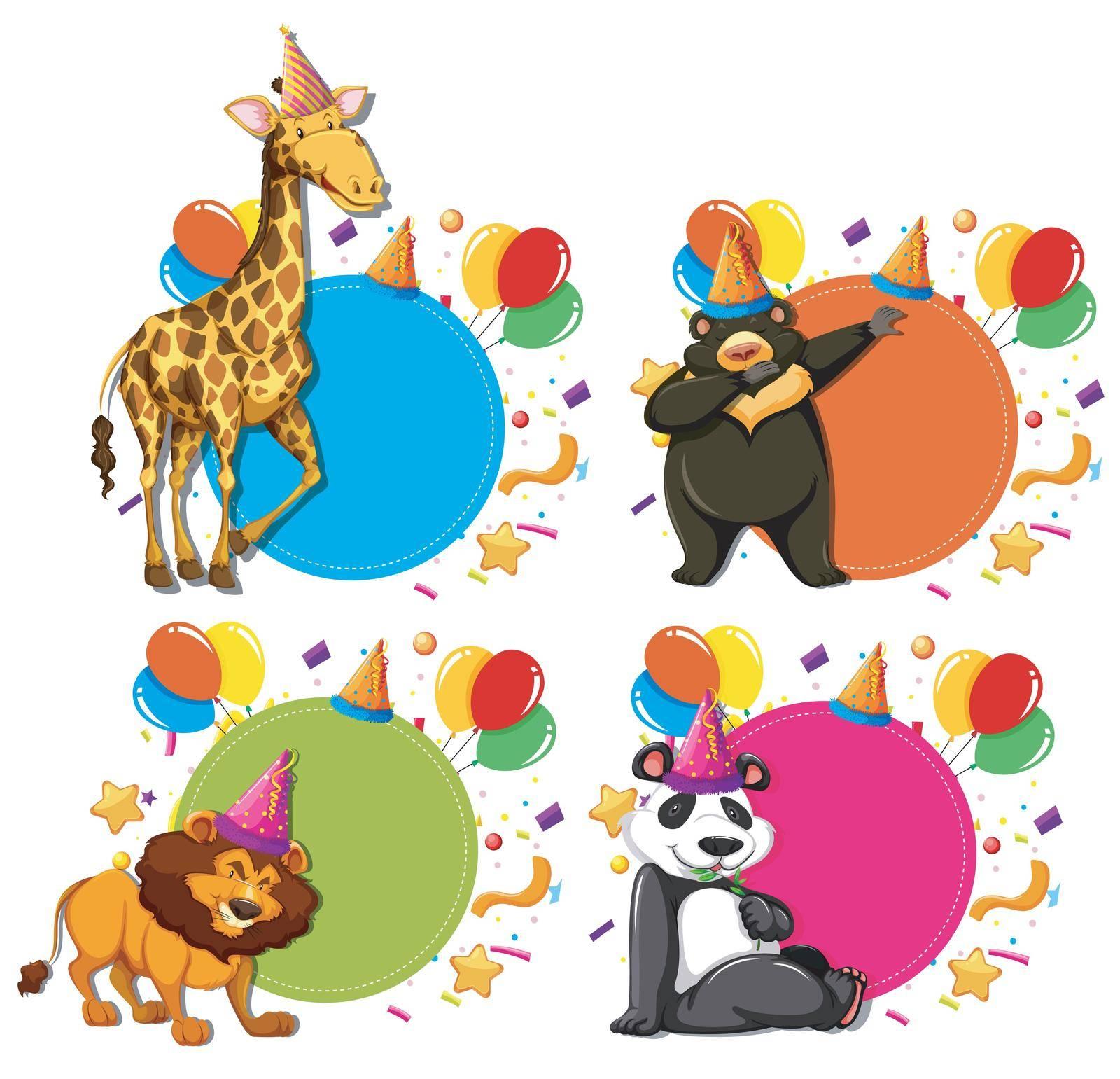 Set of animal celebration concepts illustration