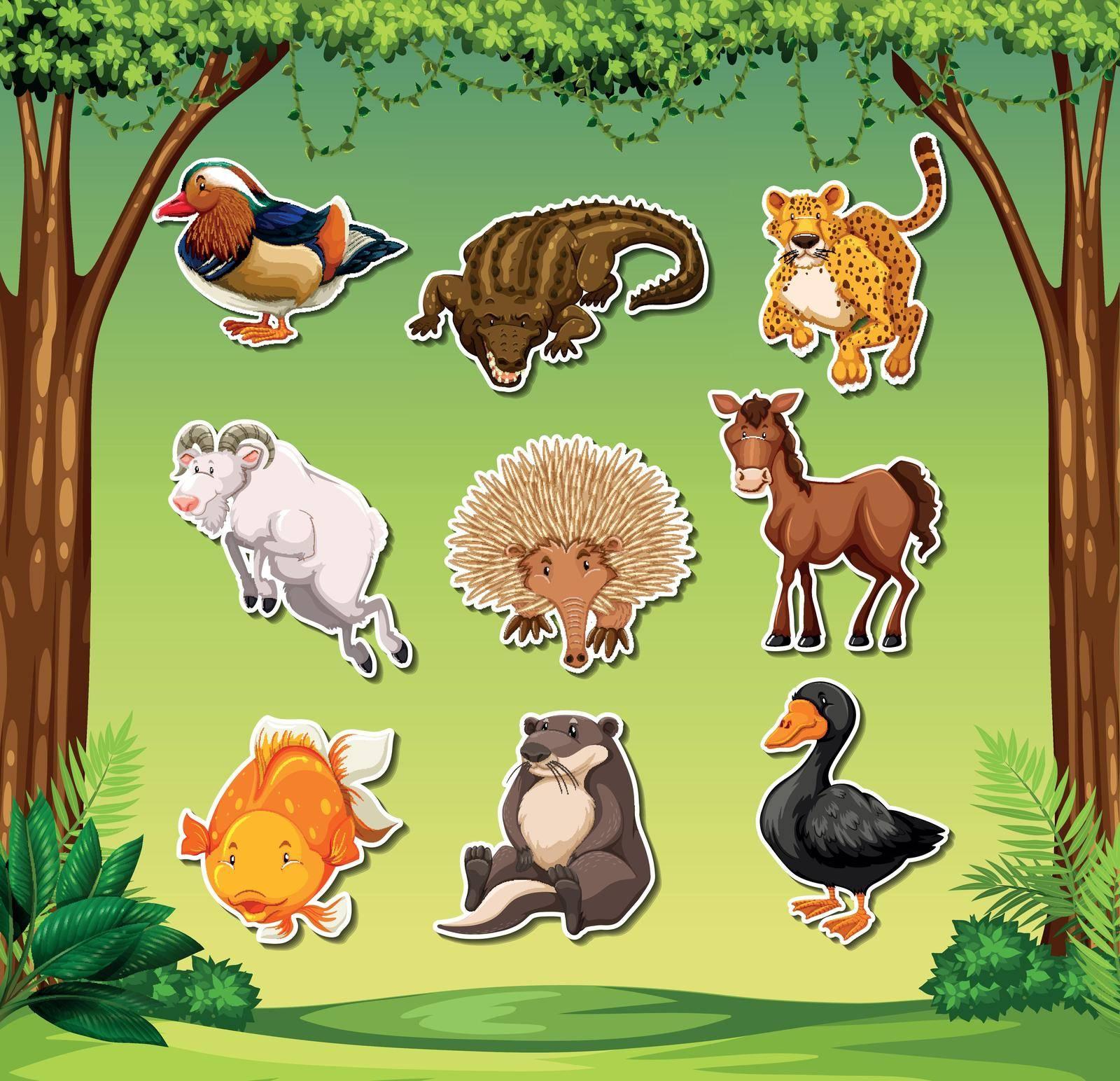 Set of animal sticker pack illustration
