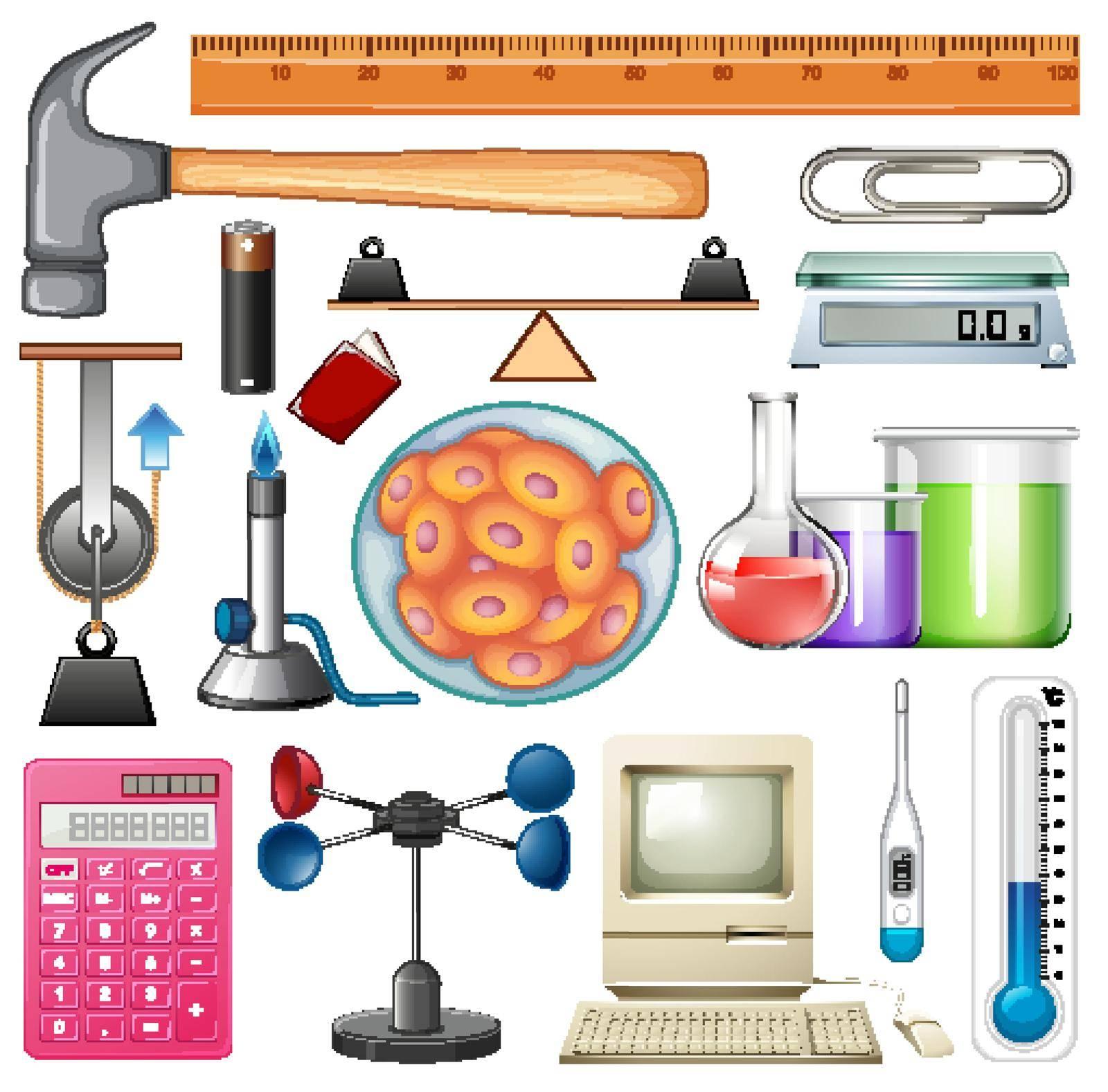 Set of science equipments on white background illustration