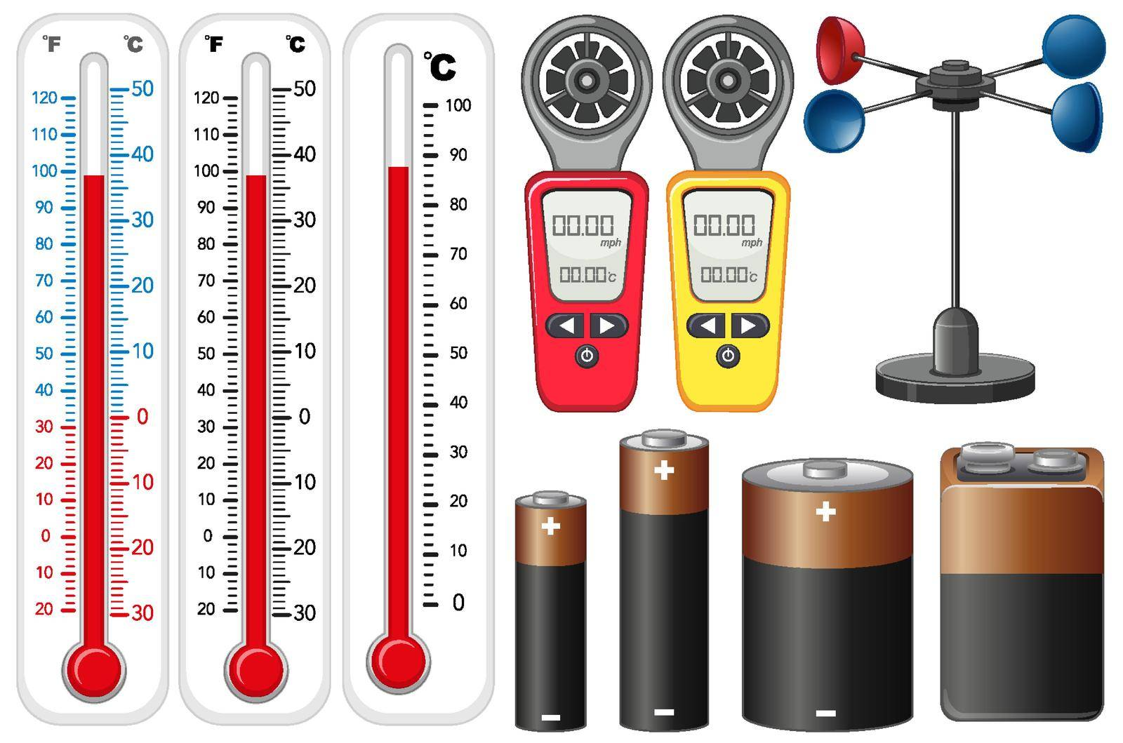 Different types of measurement devices on white background illustration