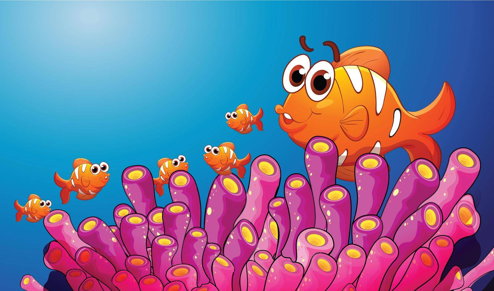 illustration of group of fish in a blue water