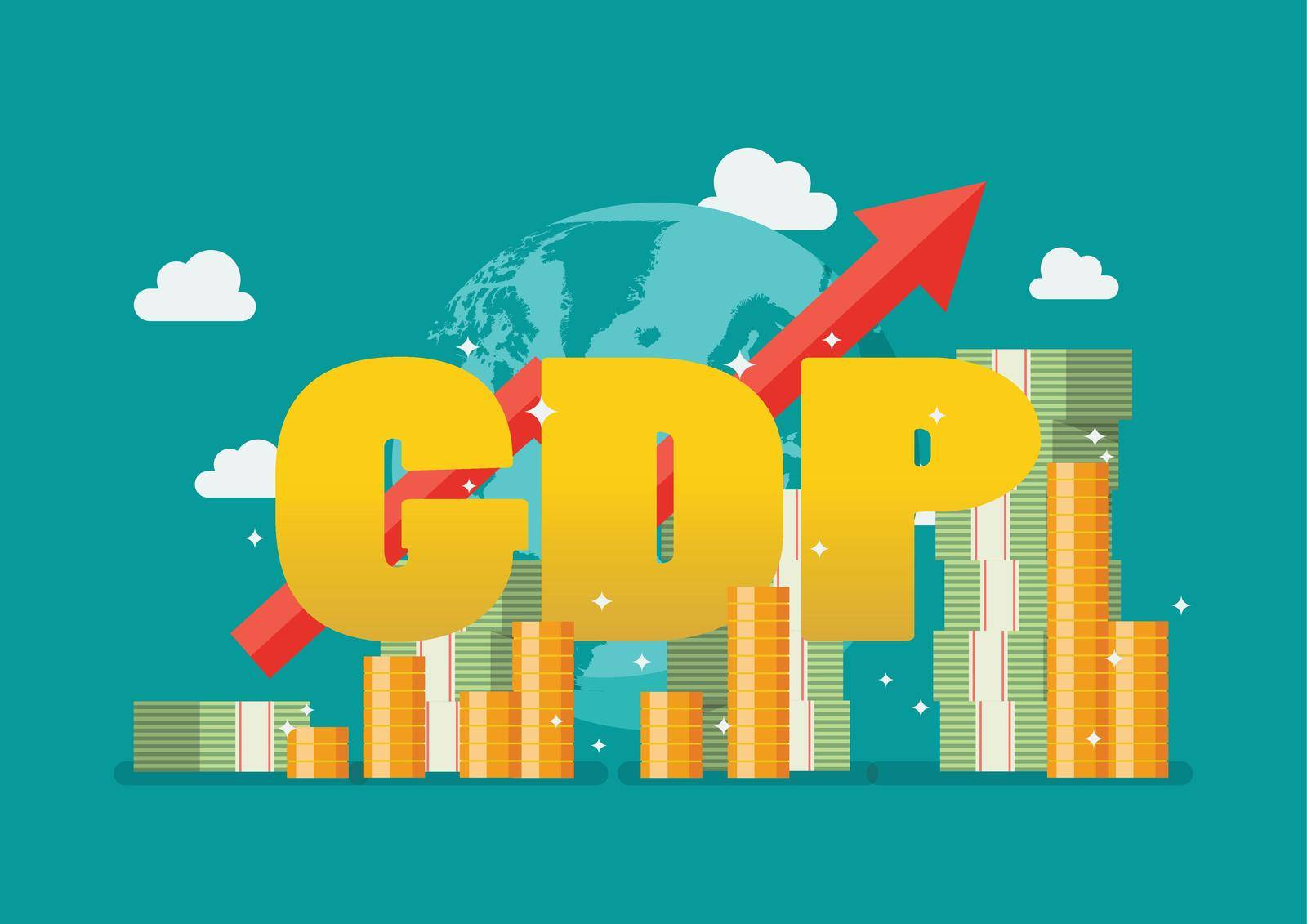 Gross domestic product National earning profit measurement. Economic growth concept. Vector illustration