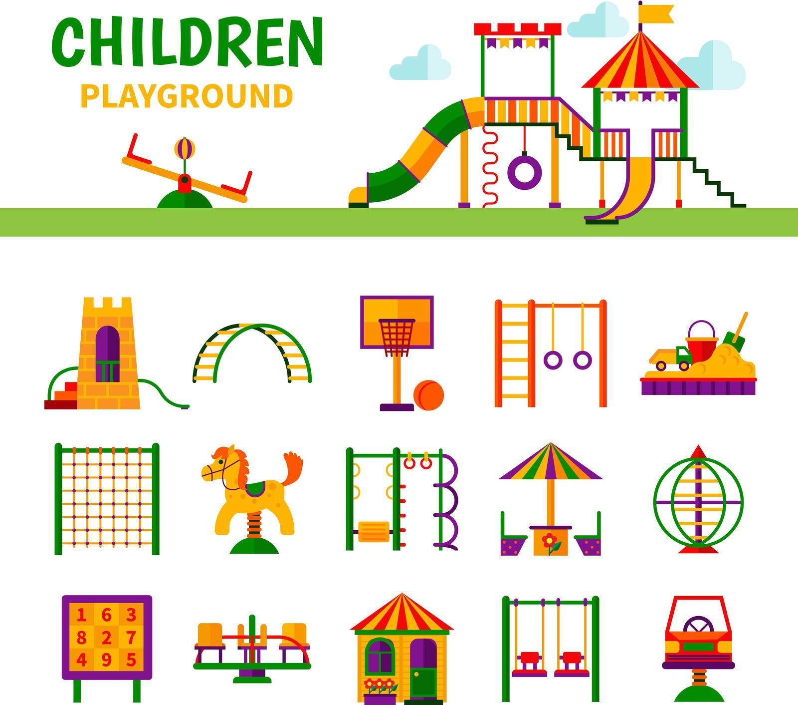 Color icons depicting different equipment children playground with title vector illustration