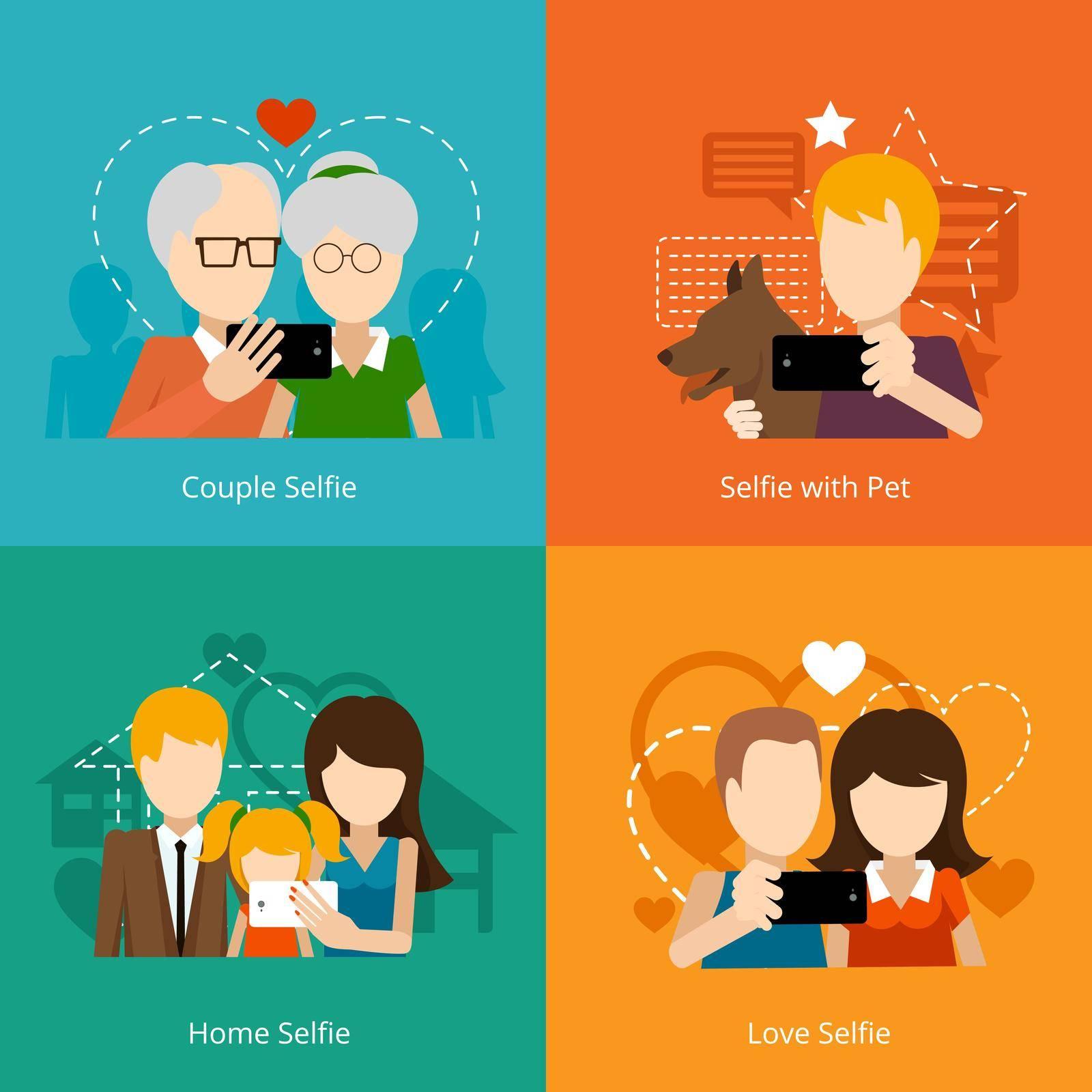 Vector selfie design concepts. Creative people, mobile camera phone. Vector illustration