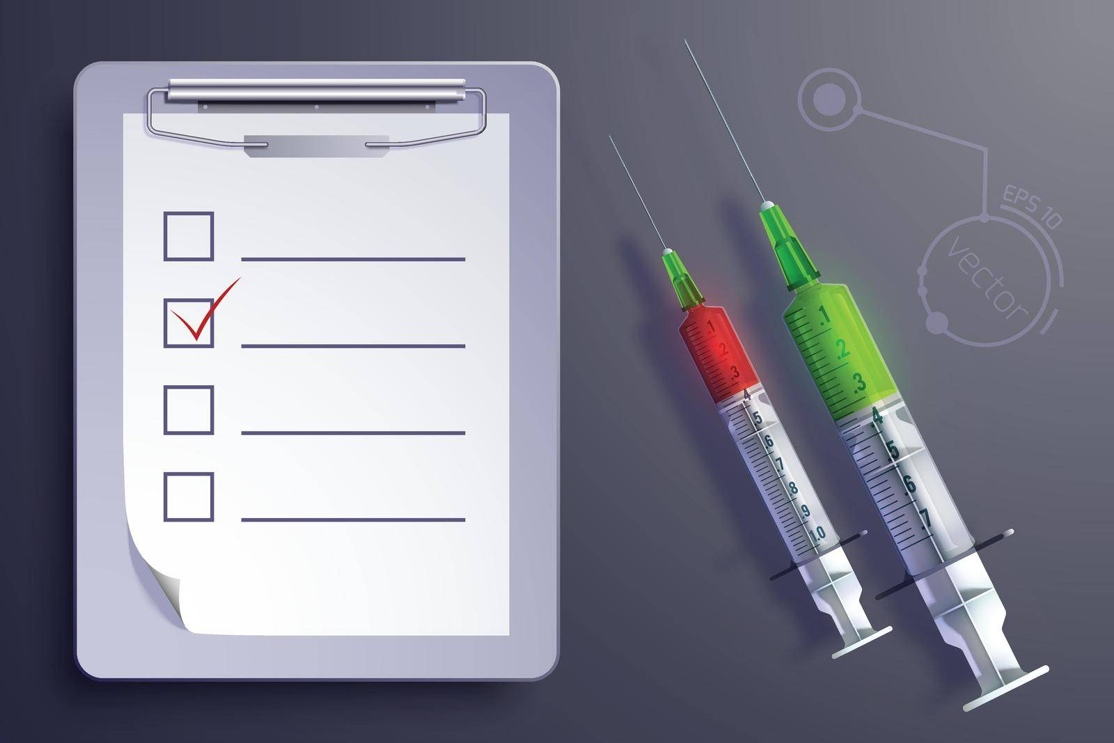 Medical equipment concept with syringes clipboard paper sheet in realistic style isolated vector illustration
