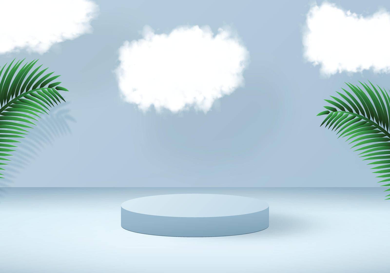 3D vector design. Tropical background with podium in blue color. Palm leaves and clouds decoration.