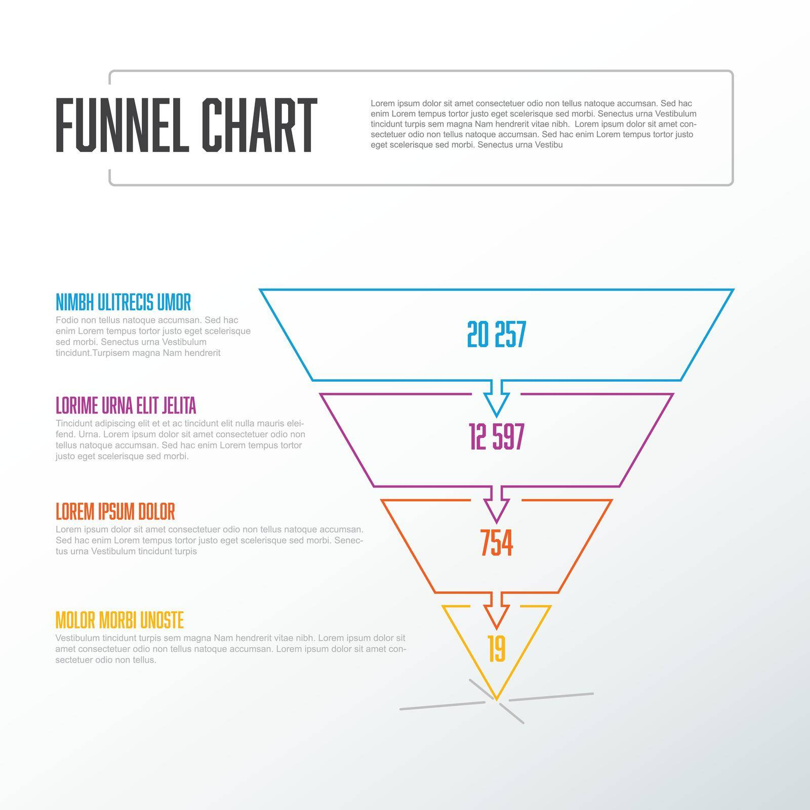 Vector thin line Infographic 4 level layers funnel template with descriptions - reverse pyramid template