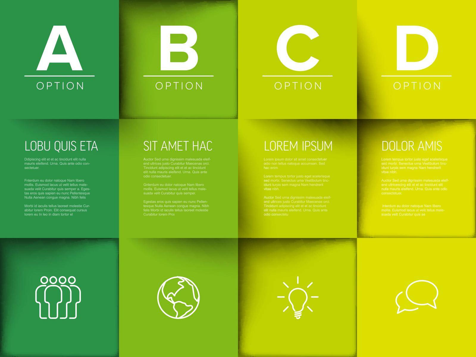 Multipurpose mosaic four letter options infographic made from green  color content squares with icons letters and texts