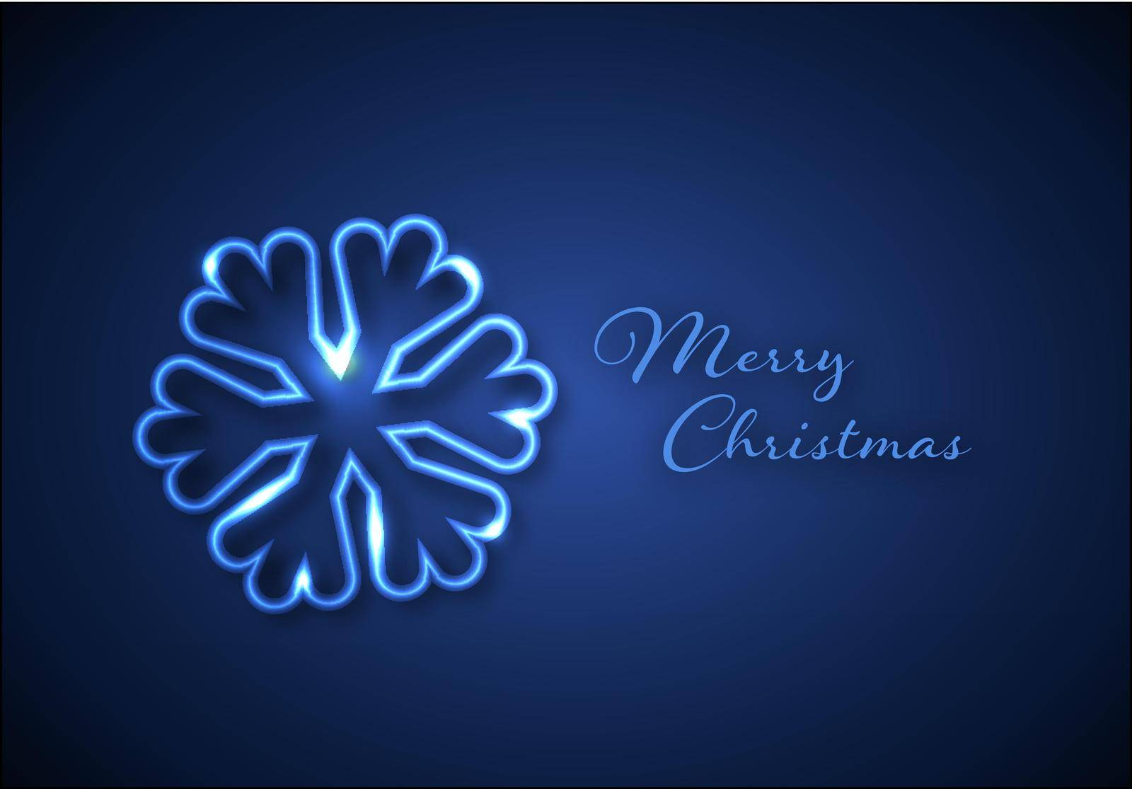 Christmas card with blue neon tube snow flake and some lights - blue version