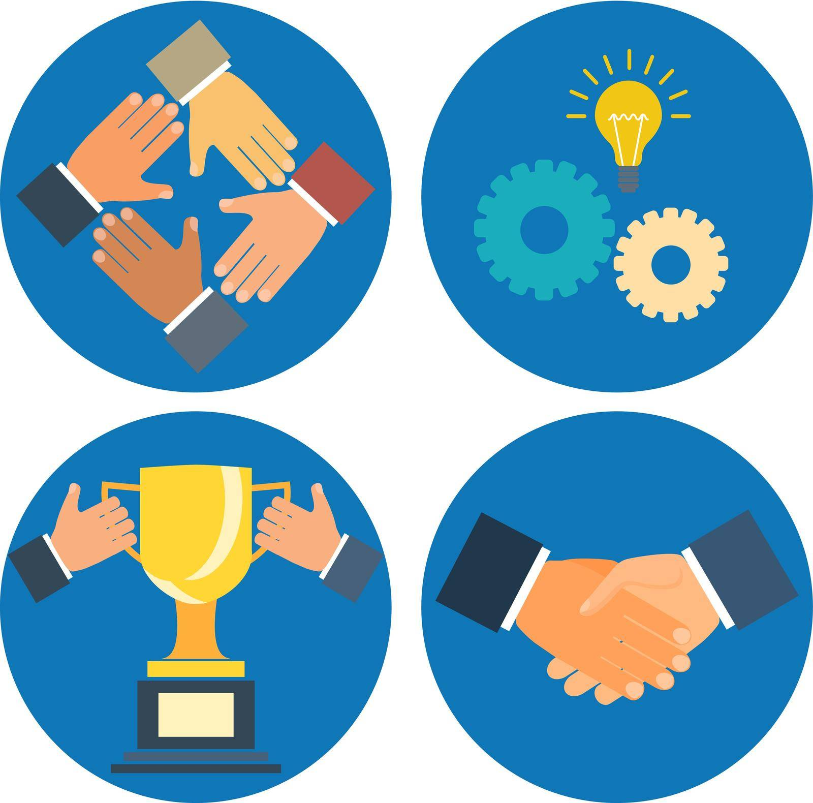 partnership concepts business illustration: assistance, cooperation, collaboration and success