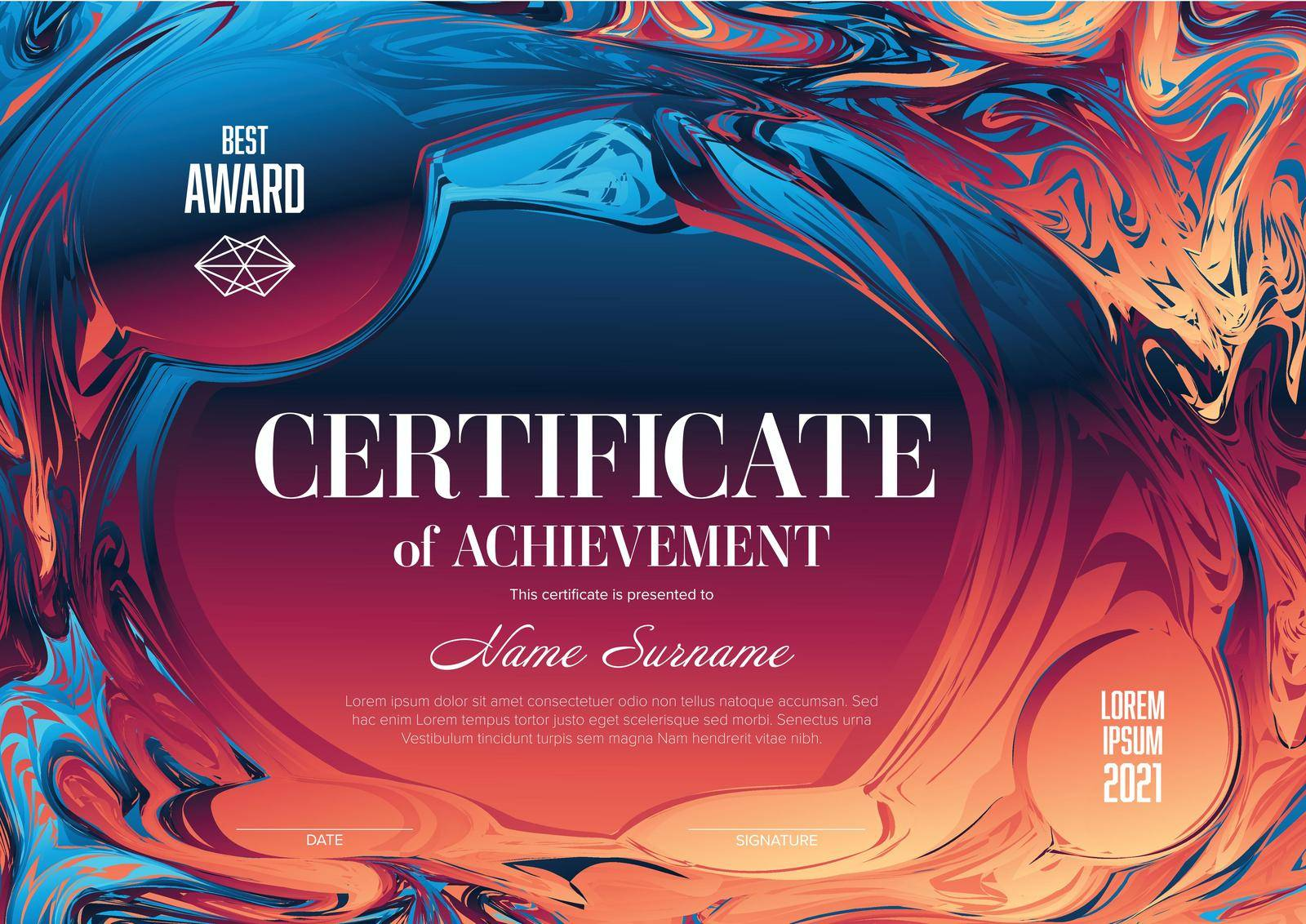 Modern art certificate of achievement template with place for your content - horizontal fresh colors version
