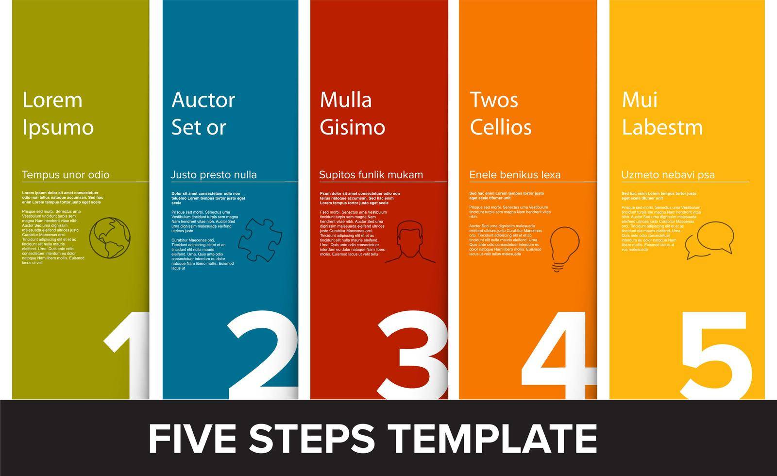 One two three four five vector light progress steps template with descriptions, flat colors and icons