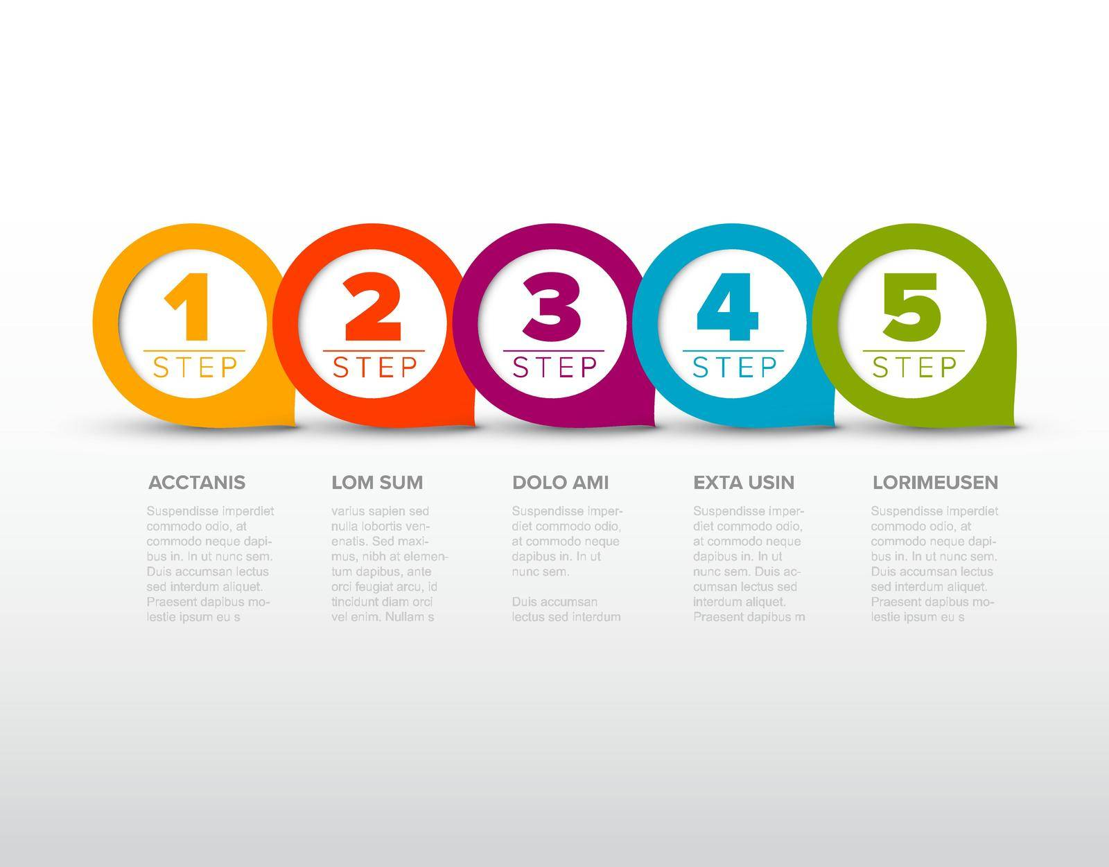 One two three four five - vector progress template with five steps and description