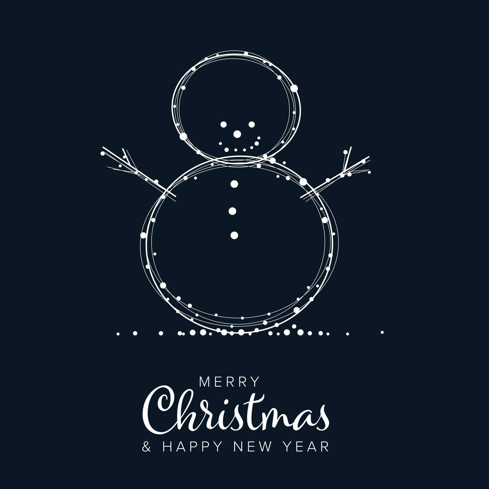 Minimalist Christmas flyer  card temlate with white snowflakes on a snowman shape and dark blue background