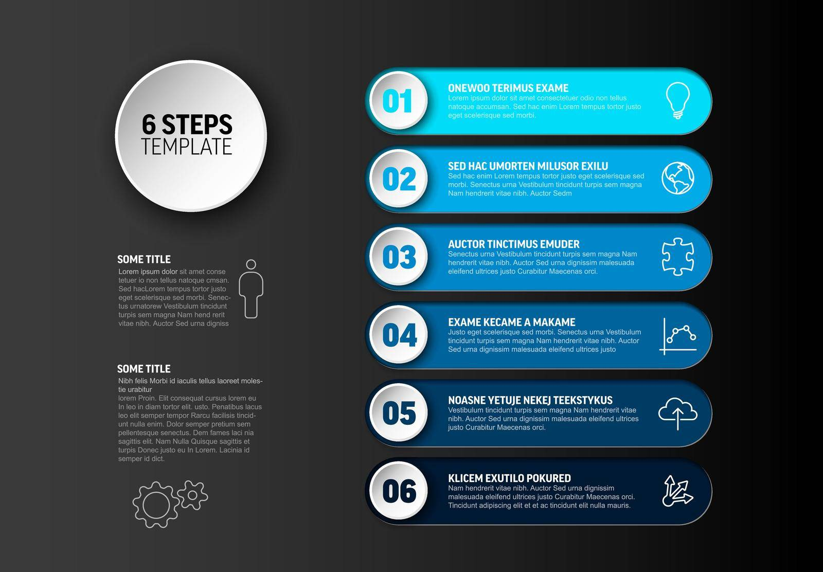 One two three four five six - vector progress steps template with descriptions and icons - deep blue version