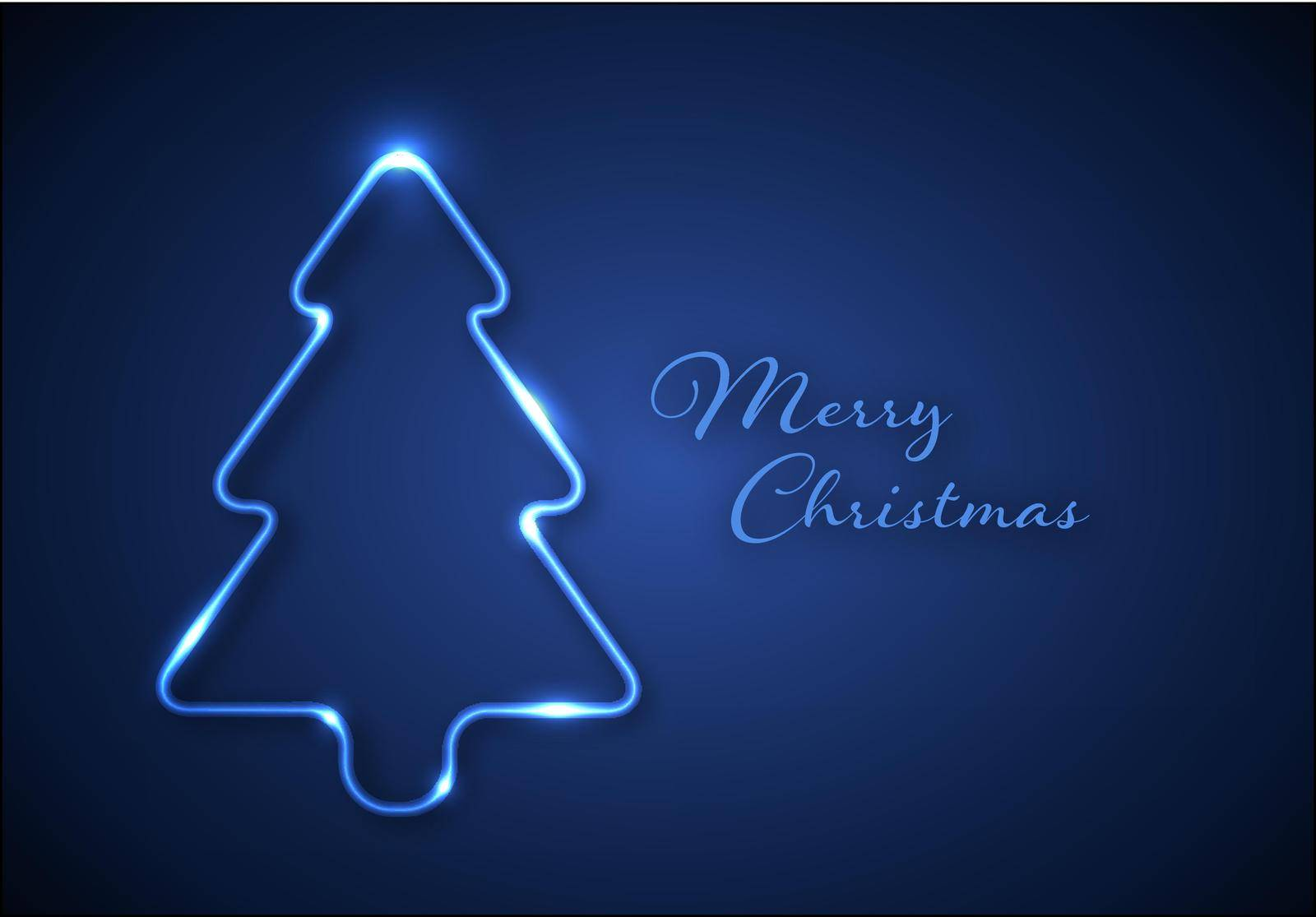 Christmas card with christmas tree made from blue neon tube, some lights - blue version