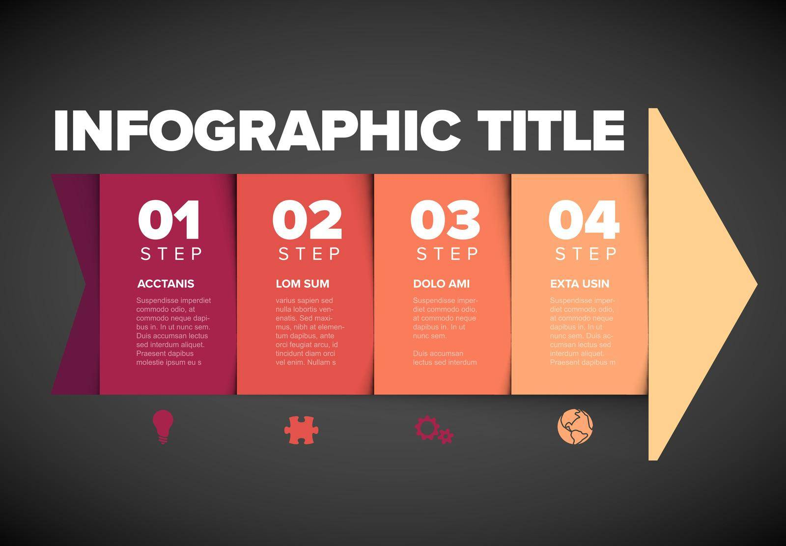 One two three four - vector red light arrow progress steps template with descriptions and icons