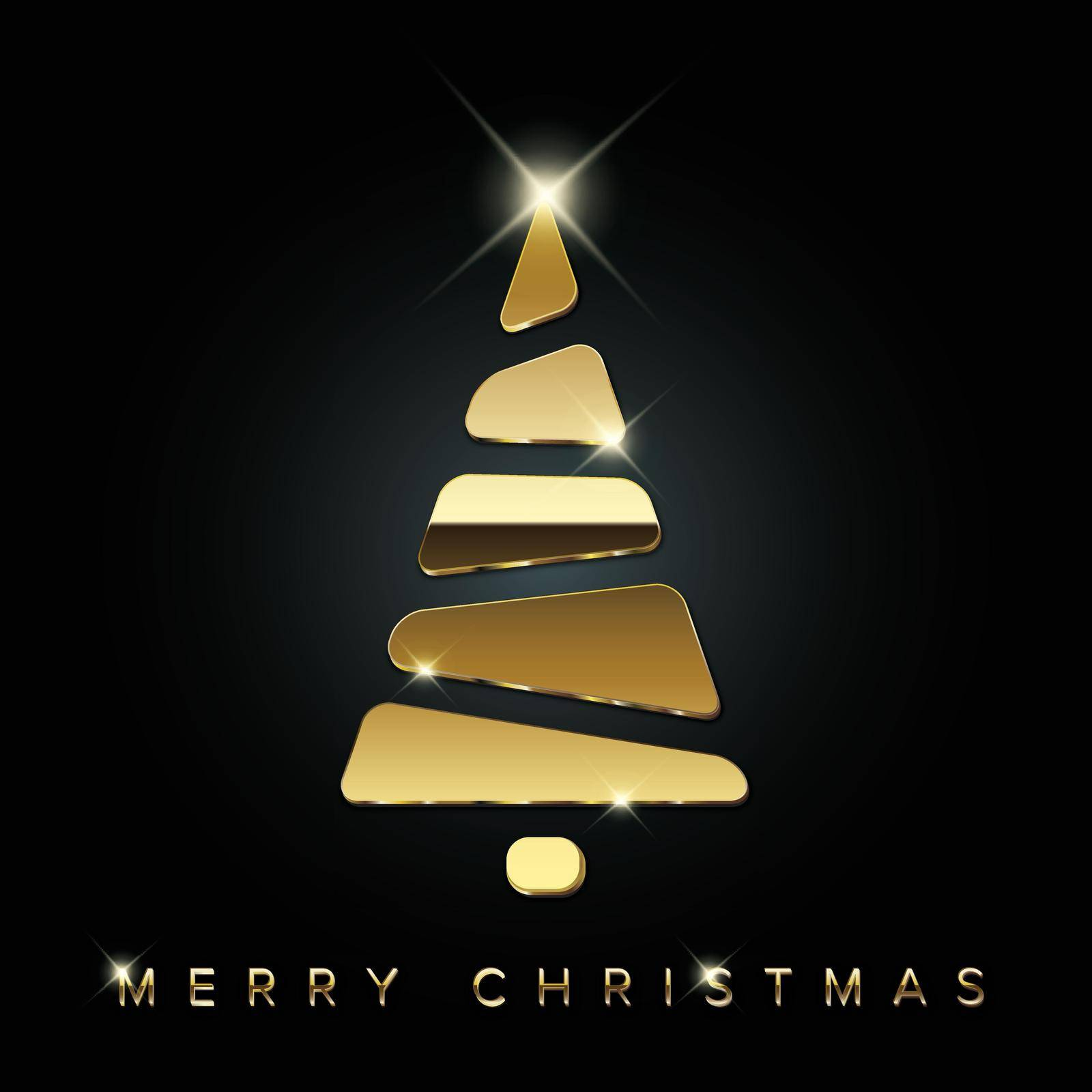 Simple vector christmas card with abstract golden christmas tree made from blocks - original new year card
