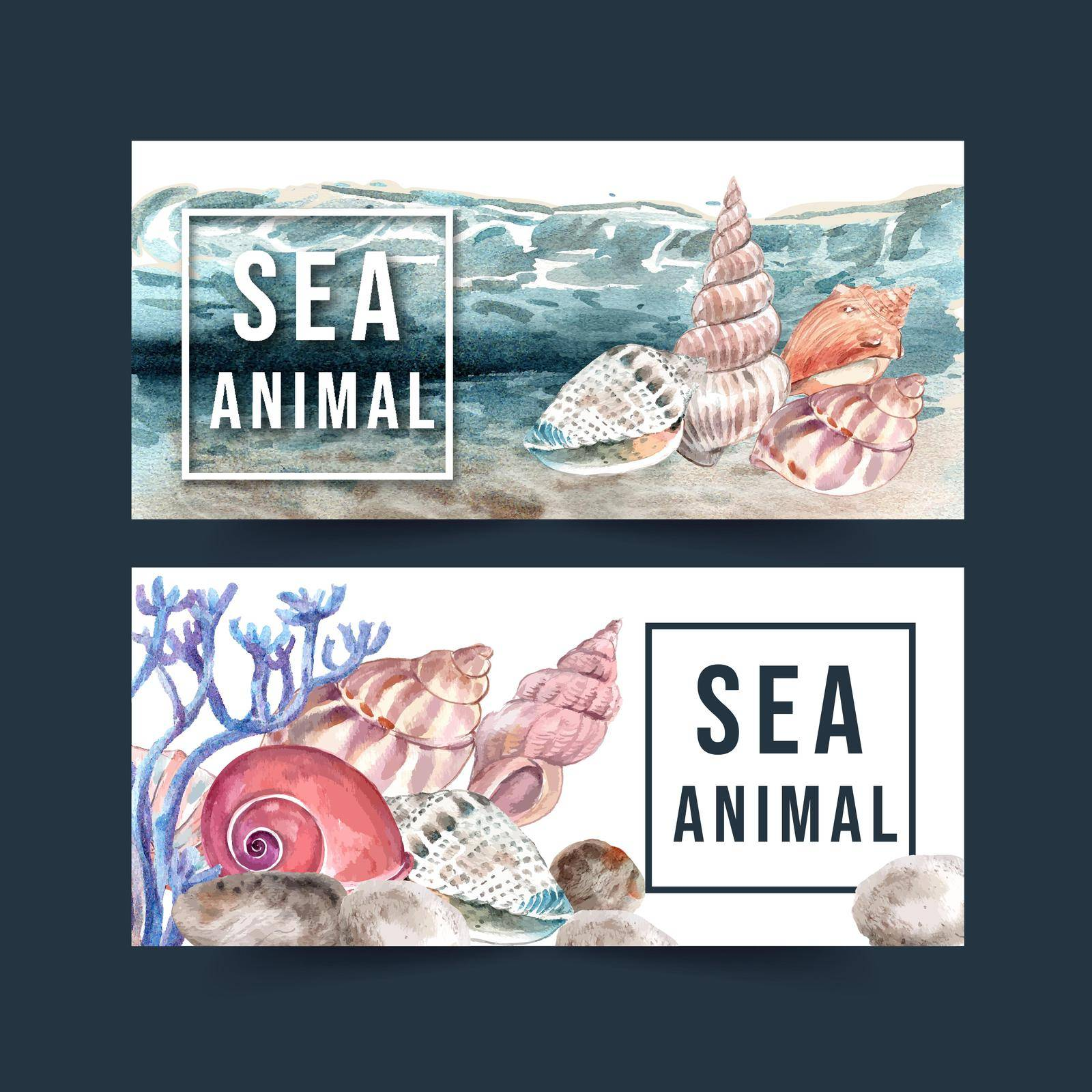 Banner design with shellfish concept watercolor with elements vector illustration template.