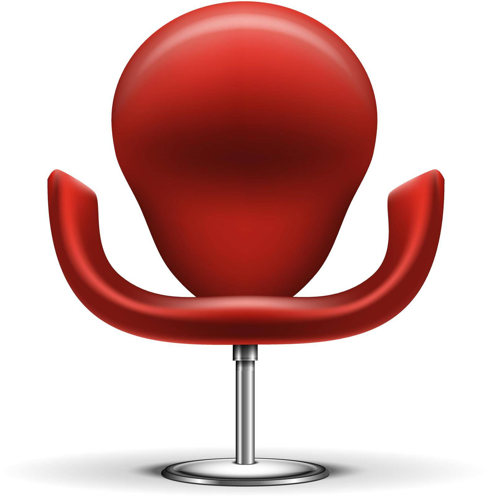 Red Modern chair isolated on white background. Editable EPS and Render in JPG format
