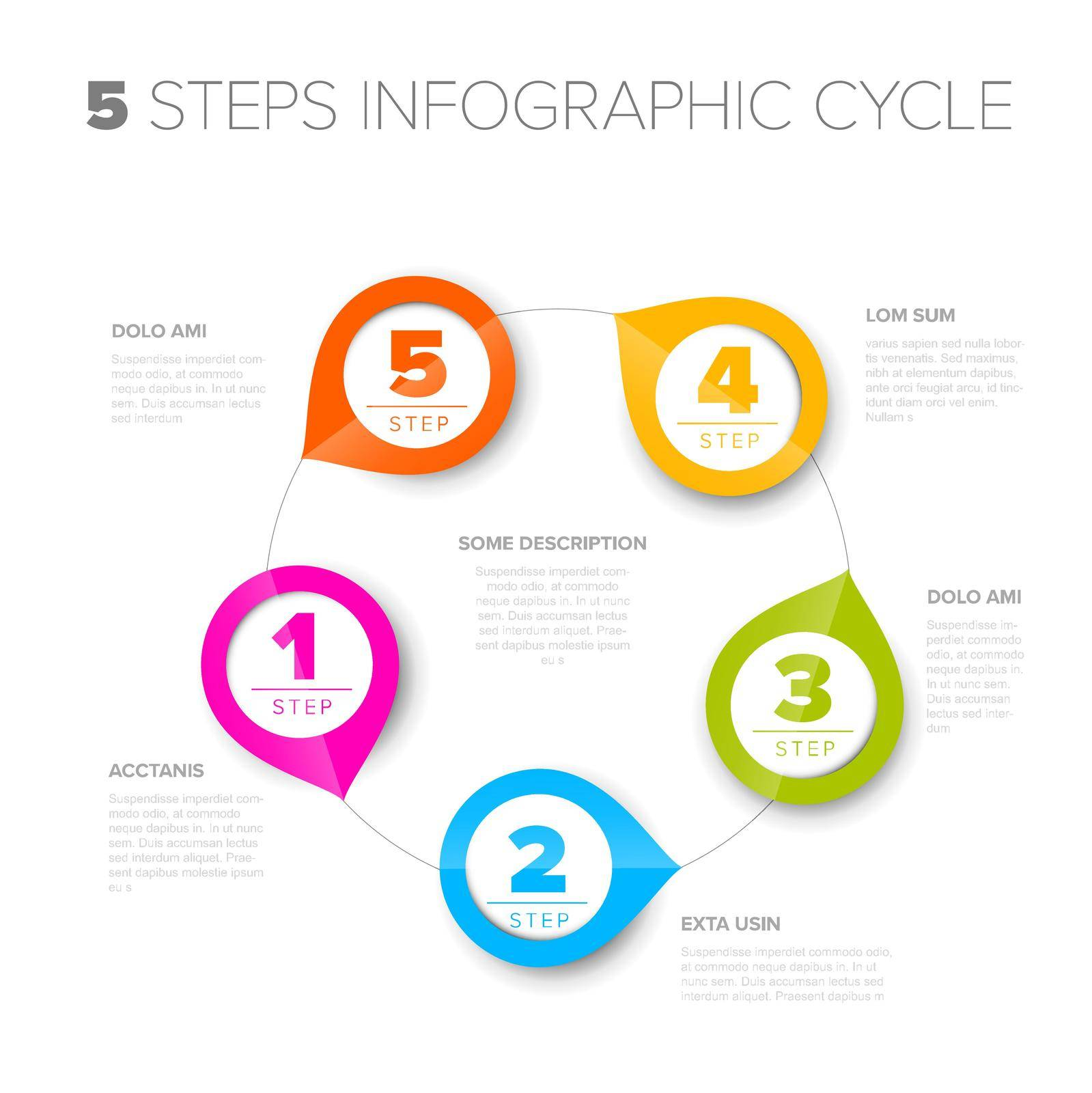 Vector progress cycle steps template with descriptions, icons and circles with arrows - simple infographic on white background