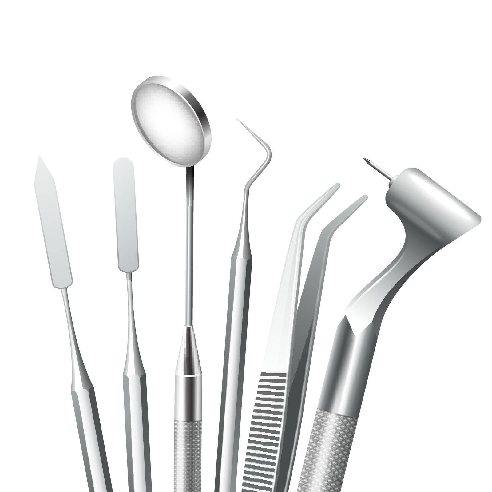Teeth dental medical equipment steel tools set realistic vector illustration