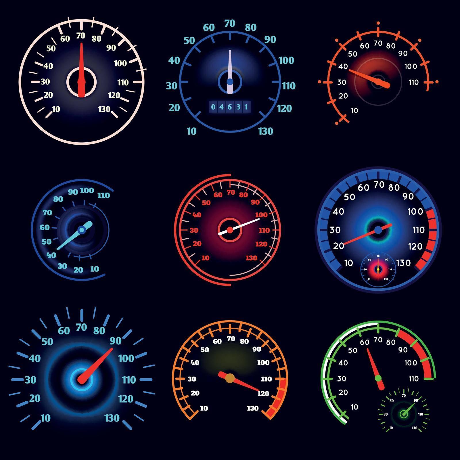 Vehicle speedometers, car indicators vector set. Automobile measurement tachometer and dashboard illustration