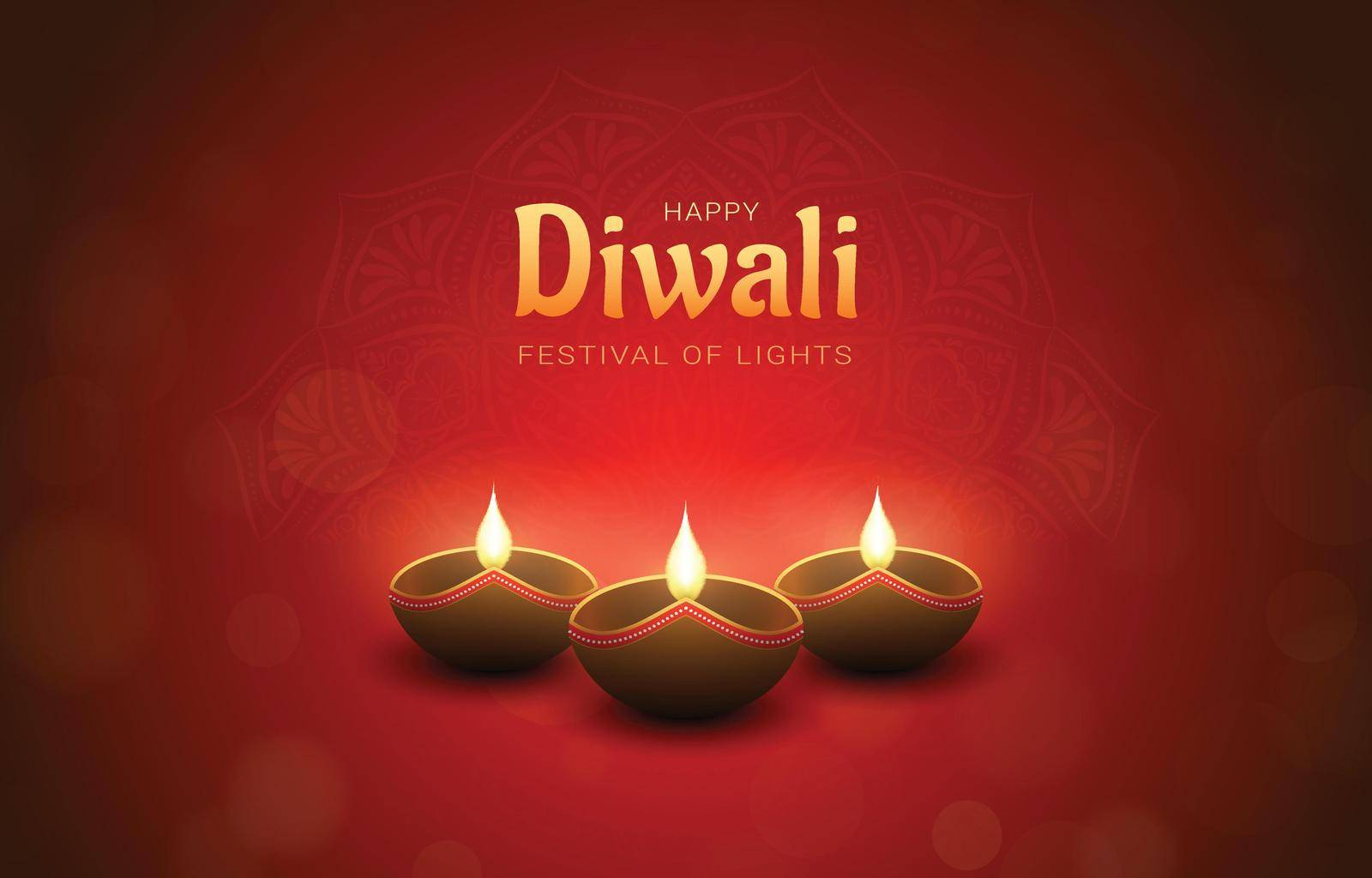 Red Happy Diwali design with burning diya lamps, bokeh and mandala effect. Festival of lights concept.