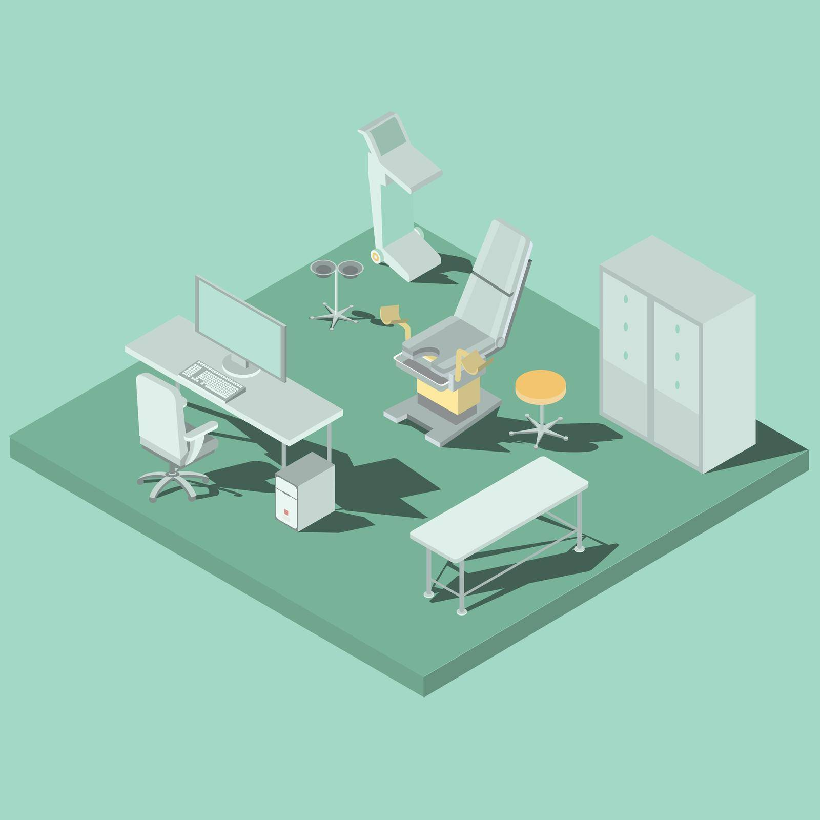 3D flat isometric illustrations interior of medical premises in the clinic, gynecological office with equipment
