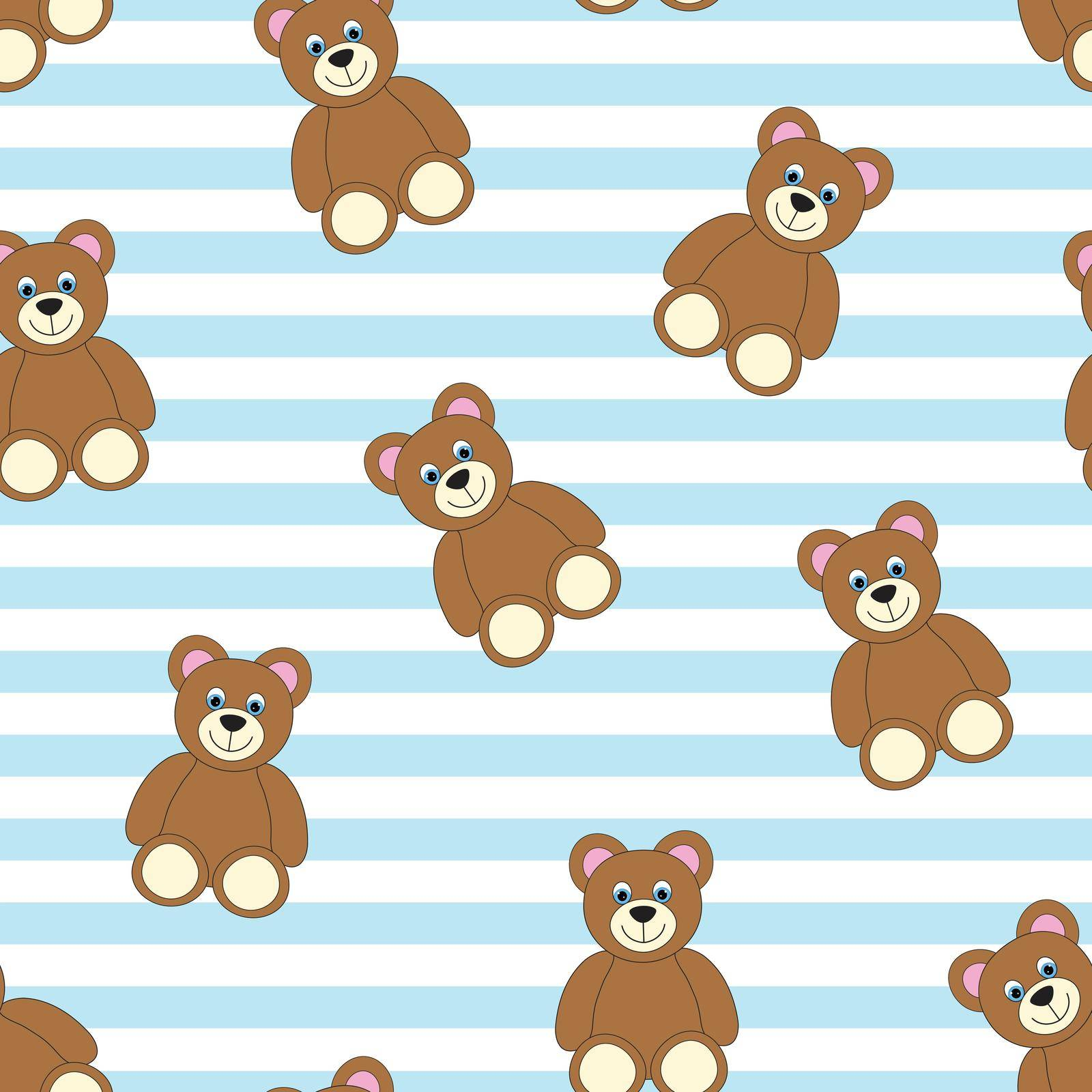 Teddy bears on white and light blue striped background. Cute baby seamless pattern.