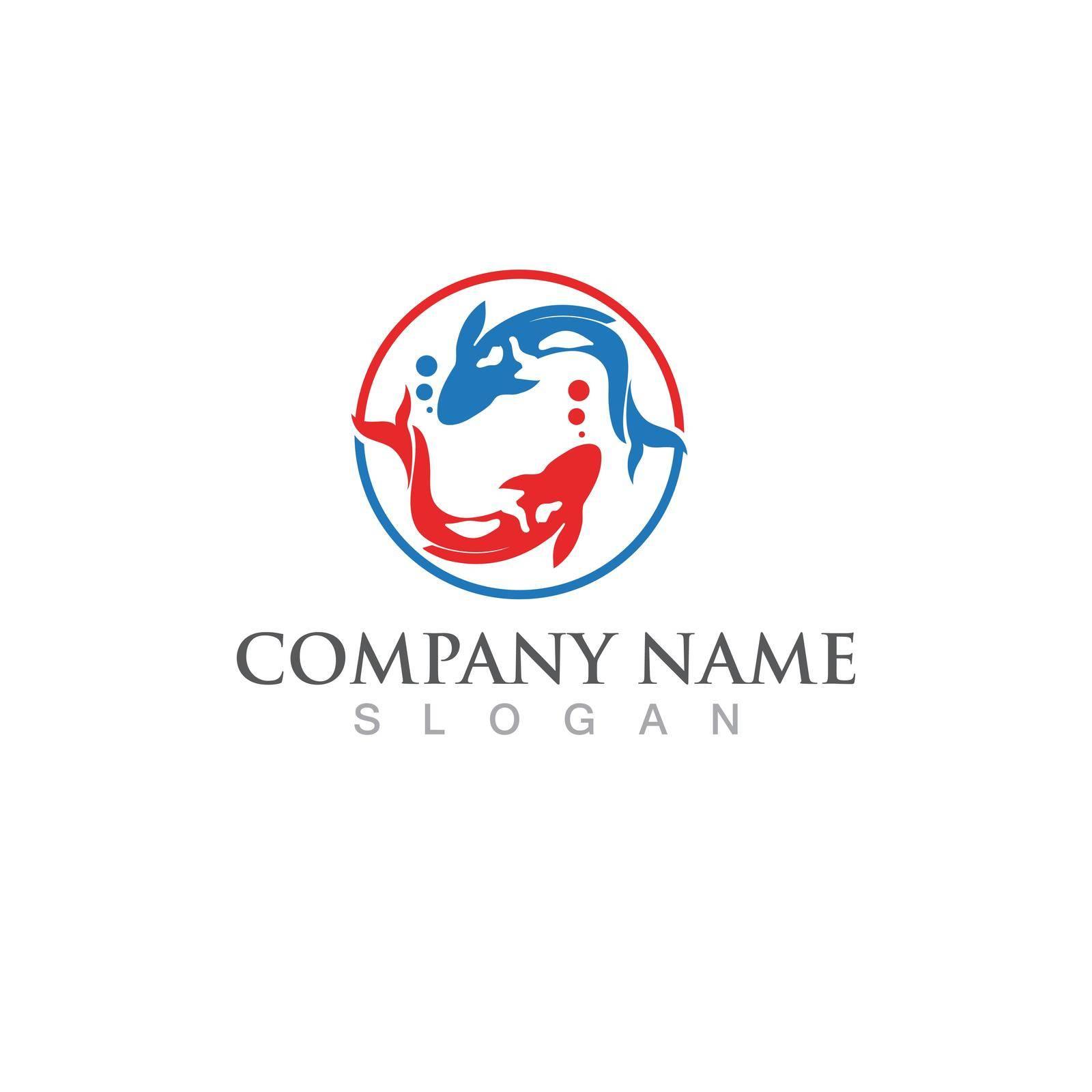 Fish koi  logo and symbol vector image