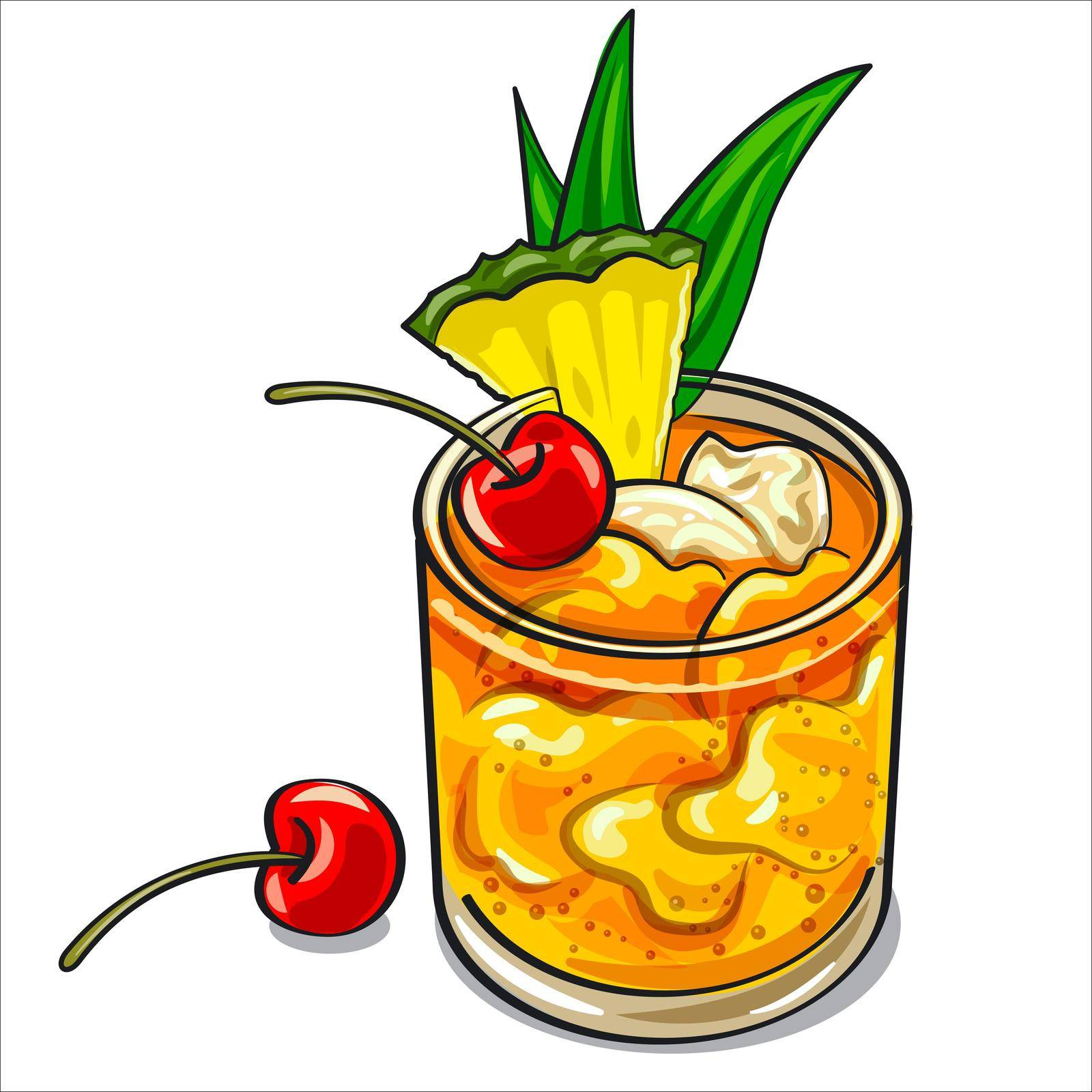 Illustration of the Mai Tai cocktail with ice and pineapple