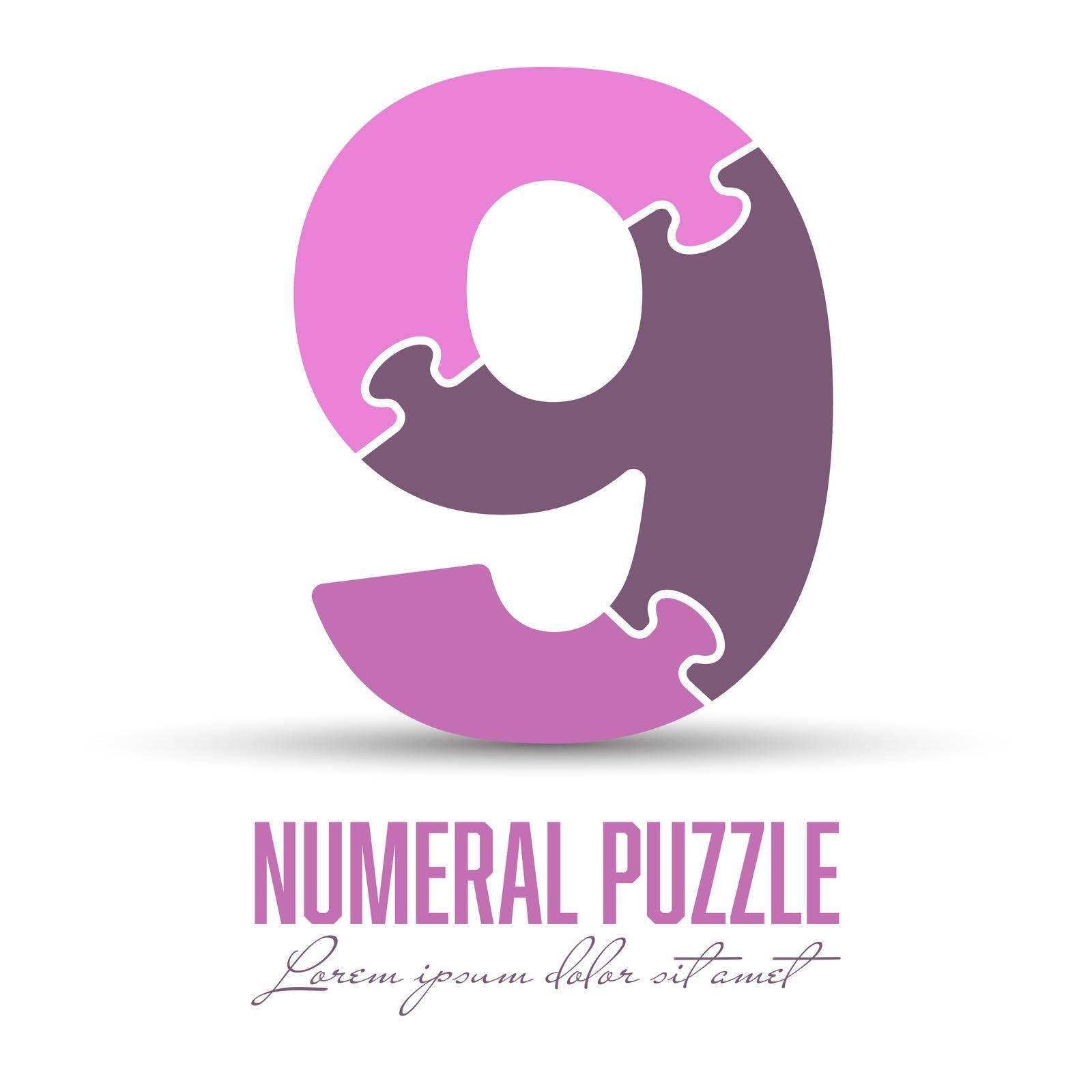 Number 9 is made up of puzzles. Vector illustration for logo, brand logo, sticker or scrapbooking, for education. Simple style.