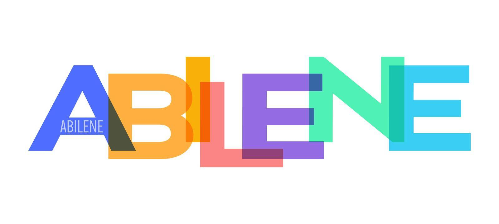 ABILENE. The name of the city on a white background. Vector design template for poster, postcard, banner. Vector illustration.