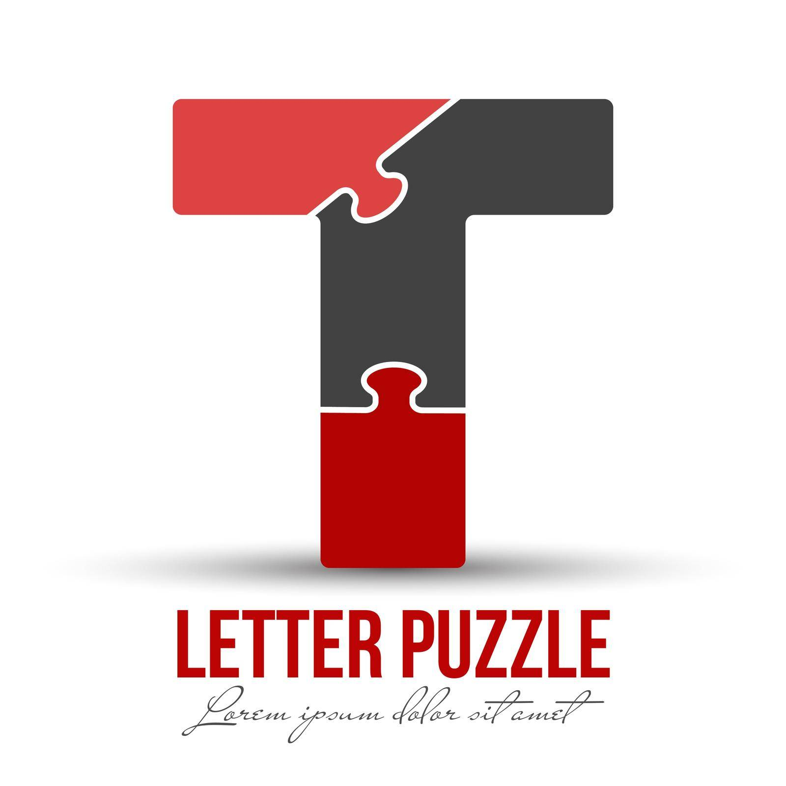 Letter T is made up of puzzles. Vector illustration for logo, brand logo, sticker or scrapbooking, for education. Simple style.