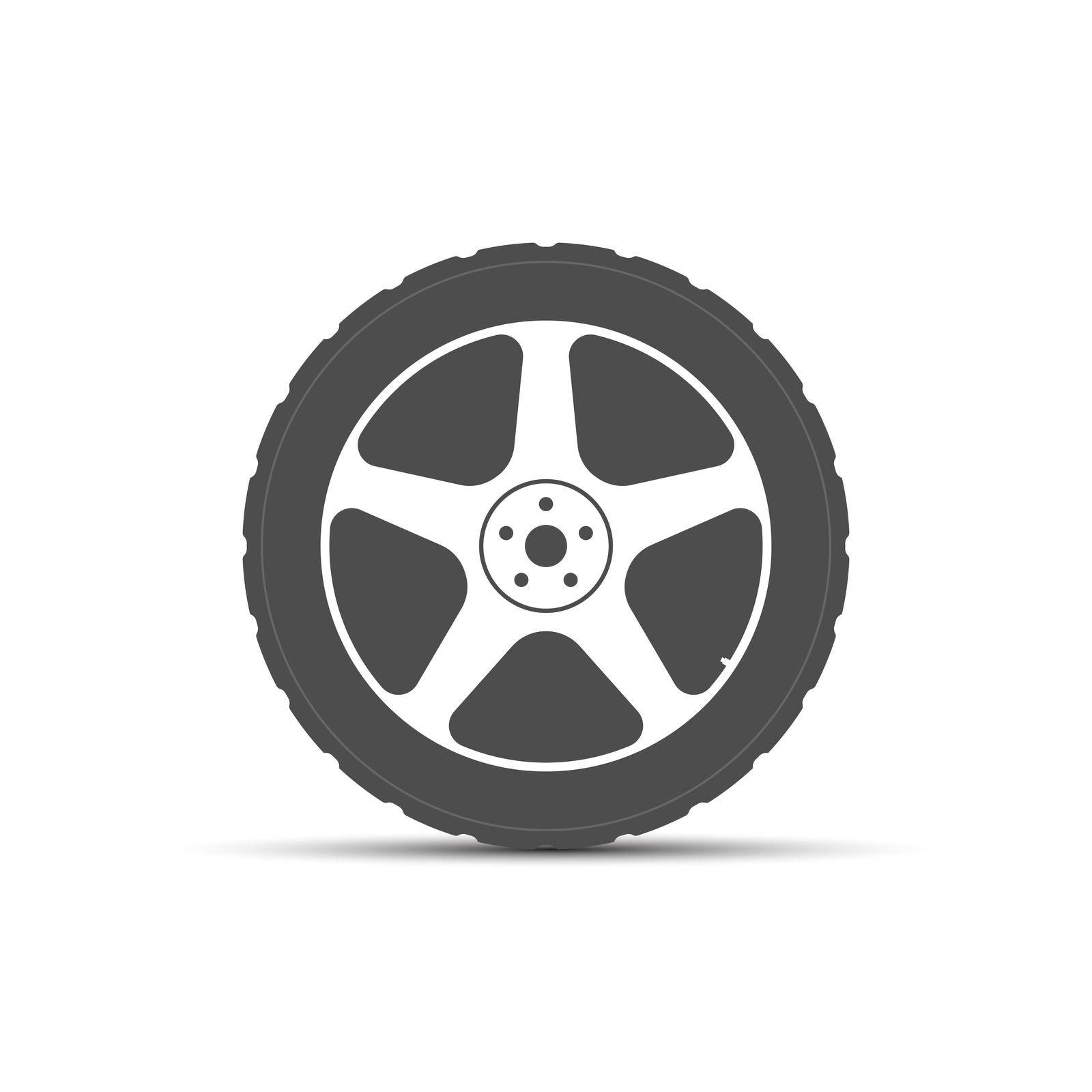 Wheel icon. The tire is on a light-alloy disc. Vector illustration by Grommik