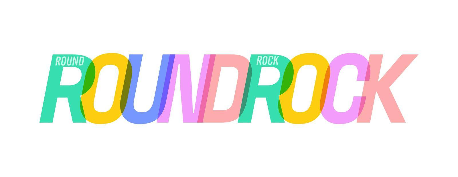 ROUND ROCK. The name of the city on a white background. Vector design template for poster, postcard, banner. Vector illustration.
