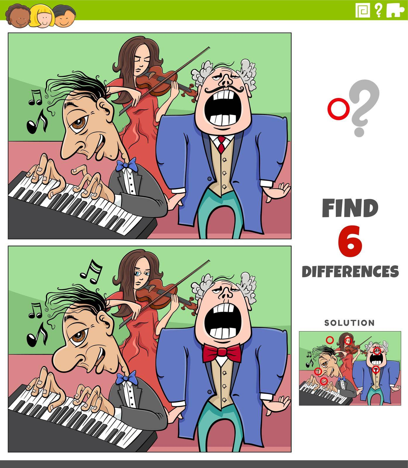 Cartoon illustration of finding the differences between pictures educational game with musicians group