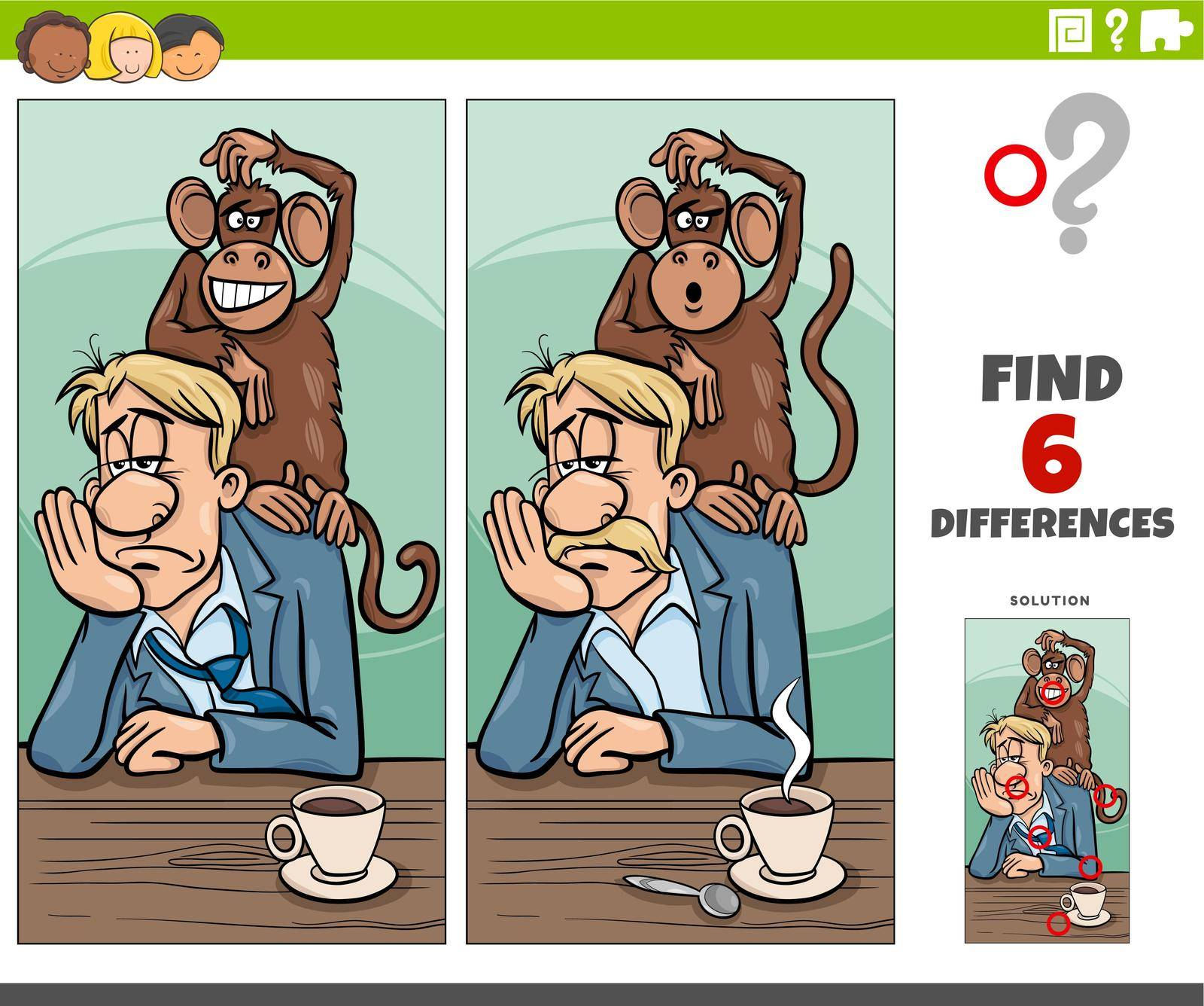 Cartoon illustration of finding the differences between pictures educational game with monkey on your back saying or proverb