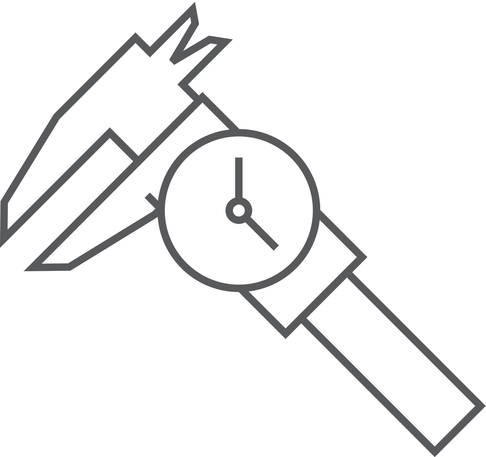 Digital caliper icon in thin outline style. Instrument equipment measurement accuracy millimeter