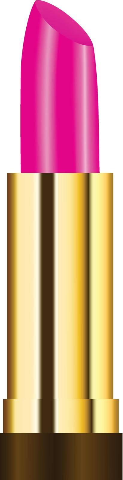 Pink lipstick with golden case. Makeup decoration element.