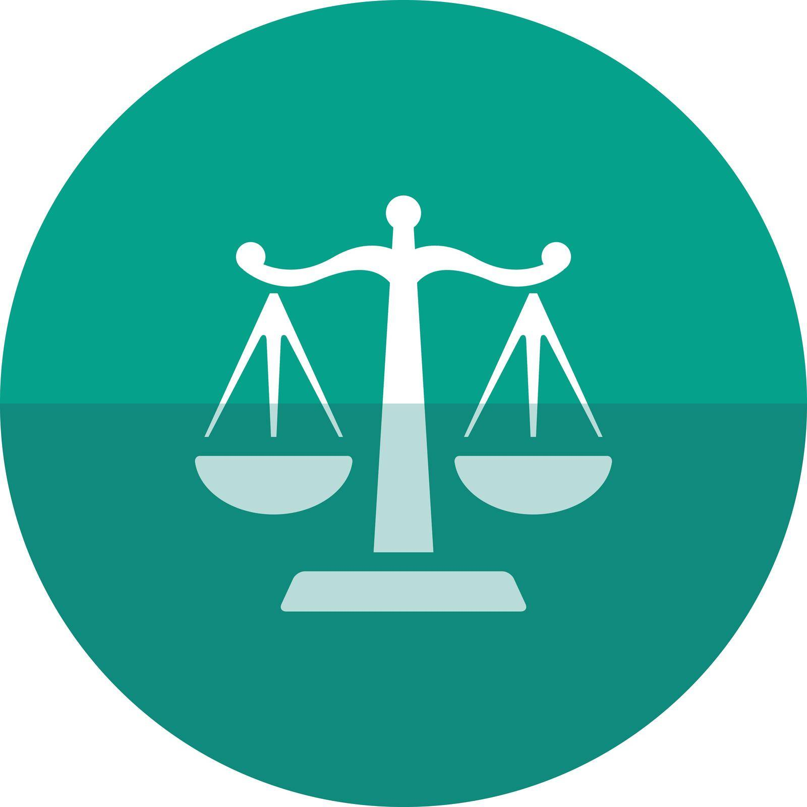 Justice scale icon in flat color circle style. Law litigation measurement balance